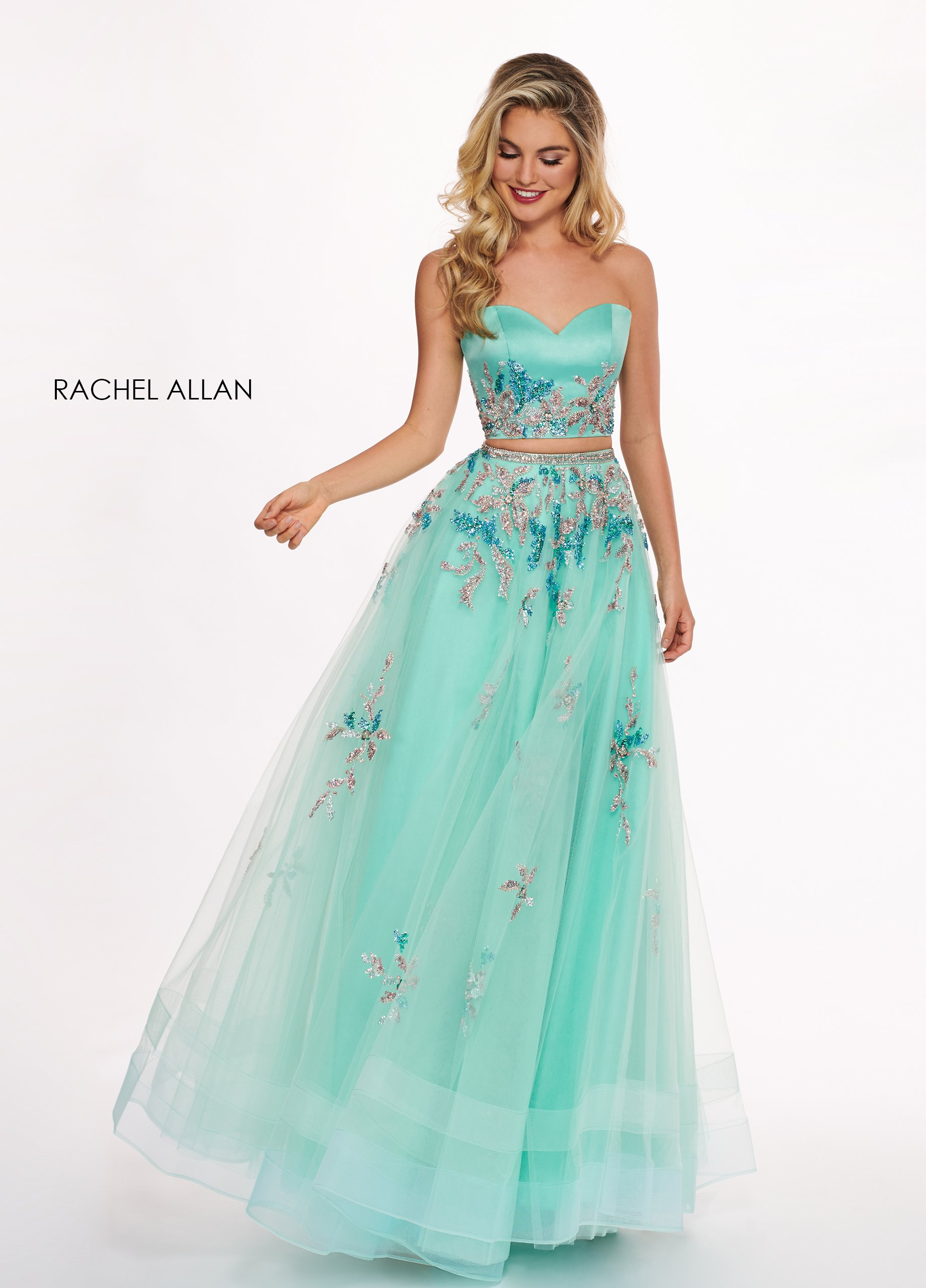 Strapless Two-Piece Prom Dresses in Emerald Color
