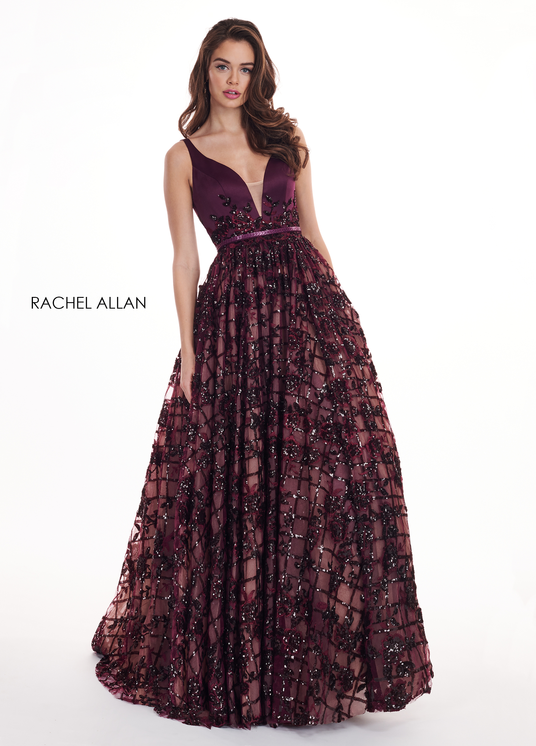 V-Neck Ball Gowns BEST SELLERS in Purple Color