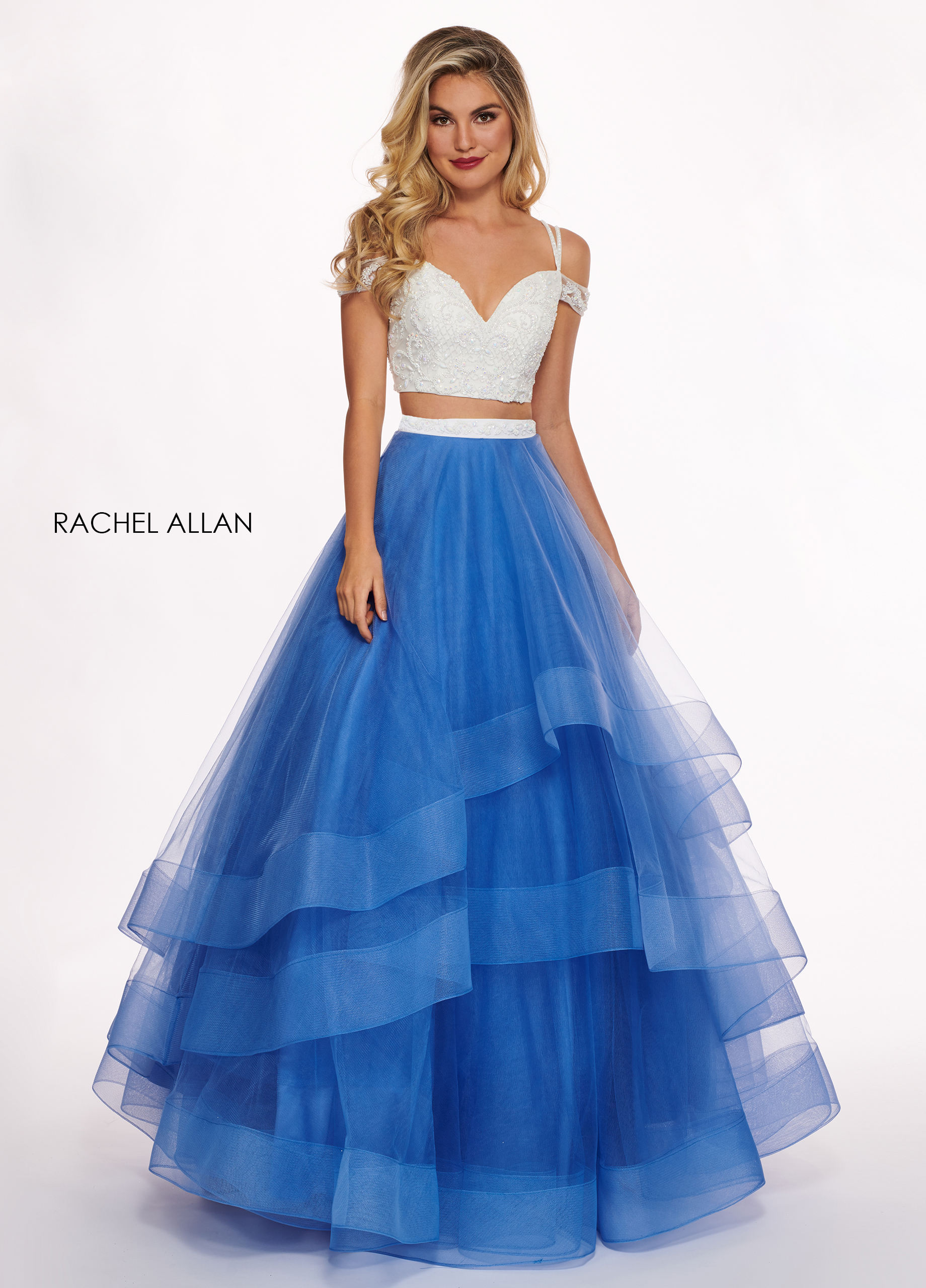 Off The Shoulder Two-Piece Prom Dresses in Royal Color