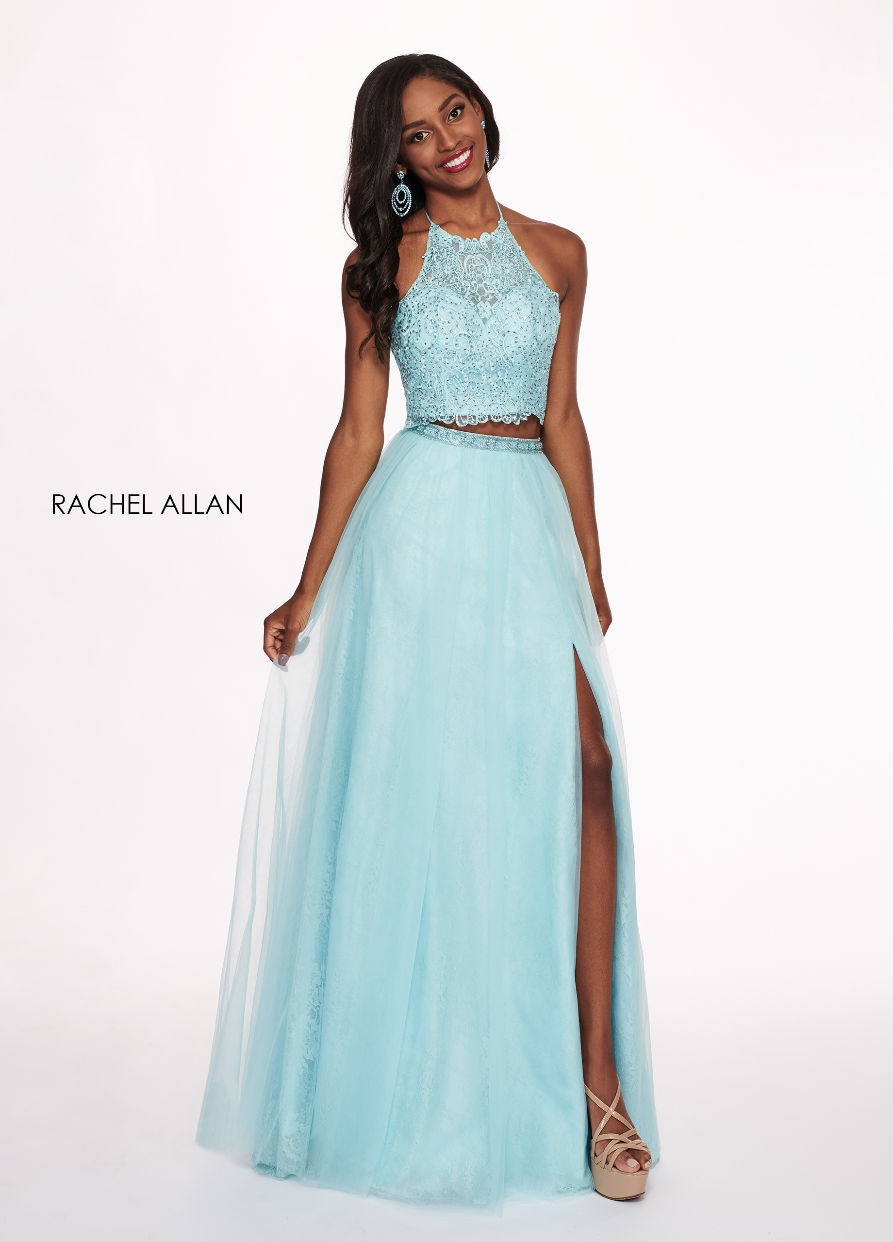 Halter Two-Piece Prom Dresses in Mint Color