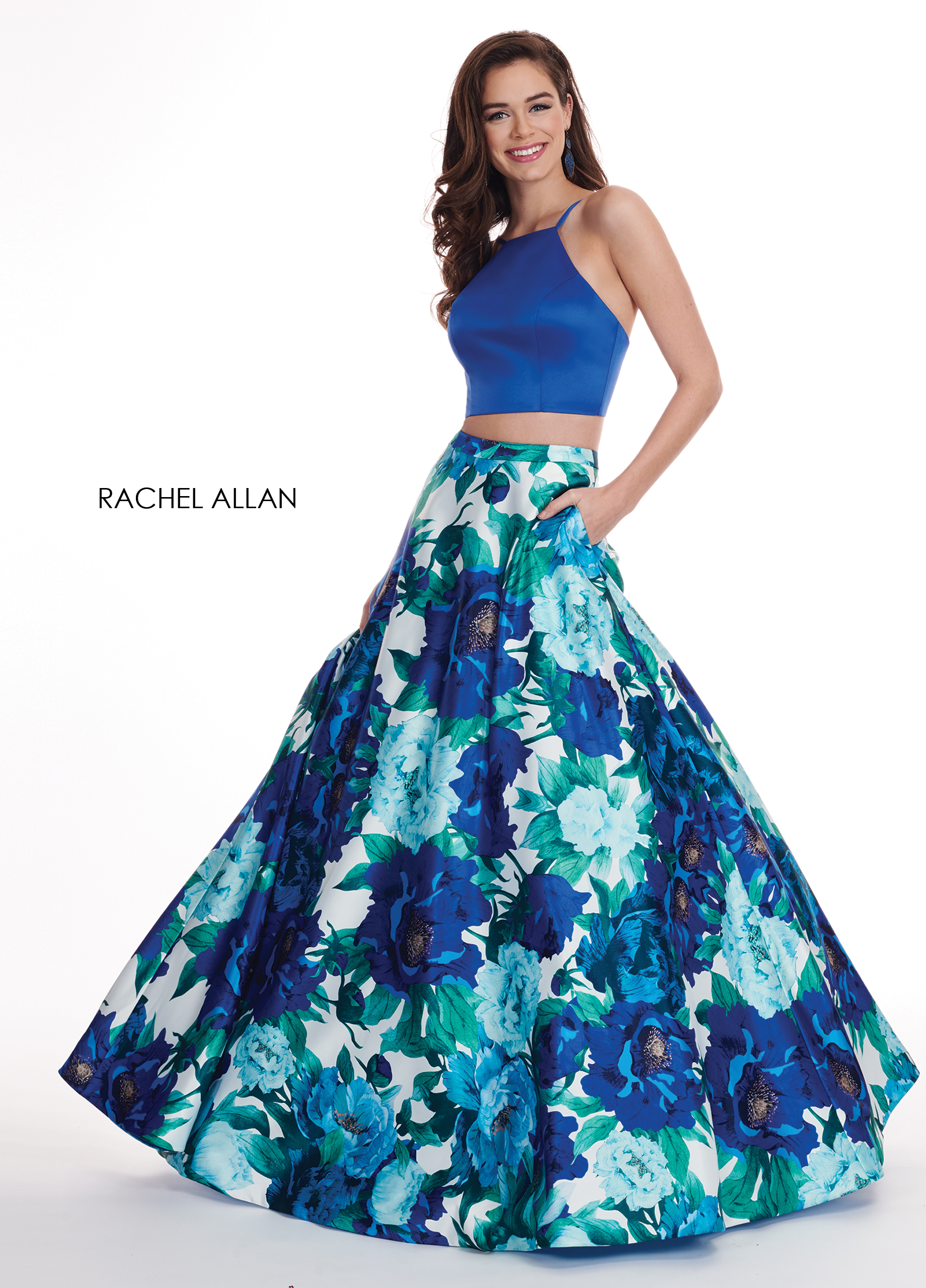 Strappy Two-Piece Prom Dresses in Royal Color