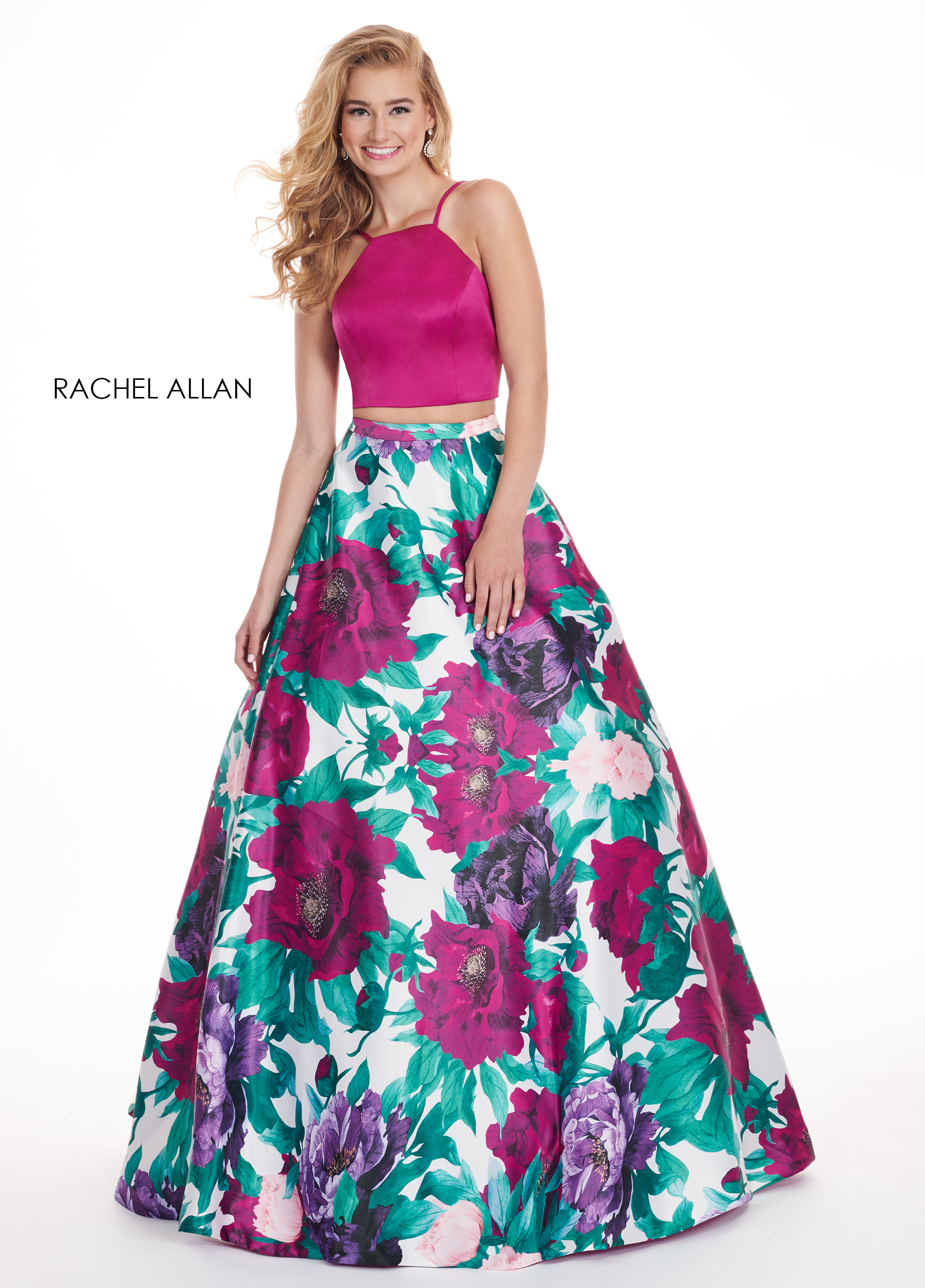 Strappy Two-Piece Prom Dresses in Magenta Color