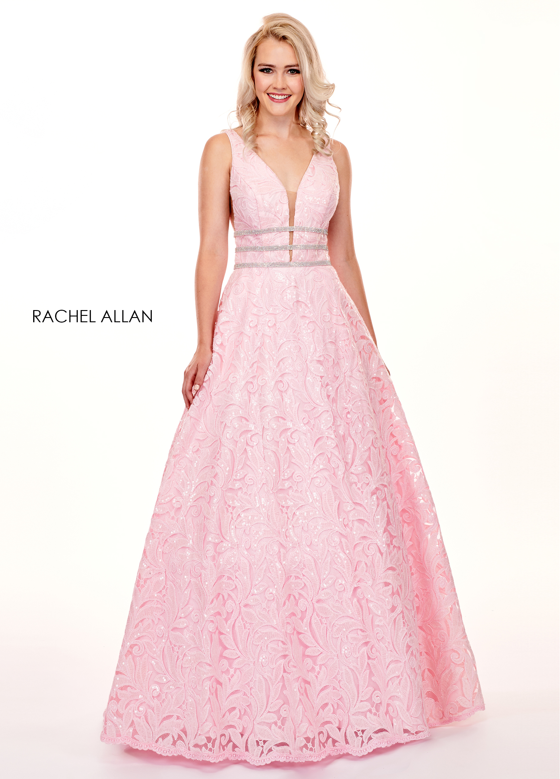 V-Neck Ball Gowns Prom Dresses in Pink Color