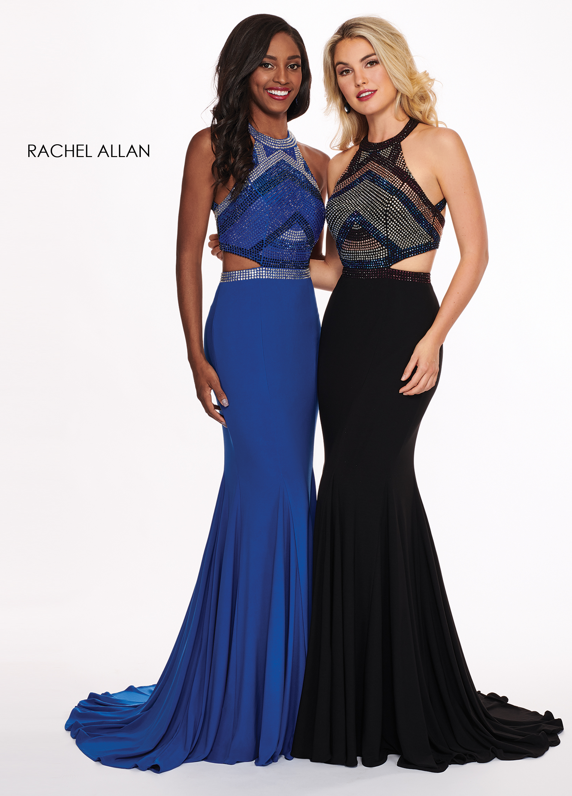 High Neckline Fitted Long Prom Dresses in Royal Color