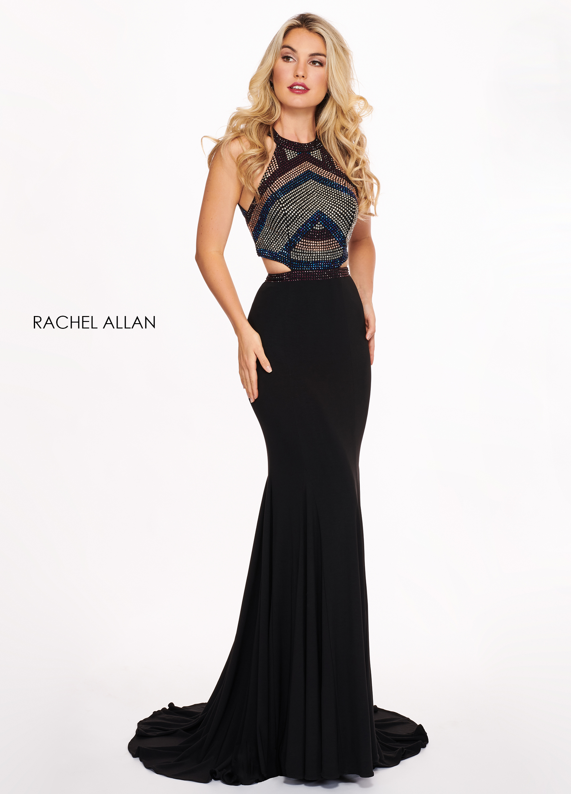 High Neckline Fitted Long Prom Dresses in Black Color