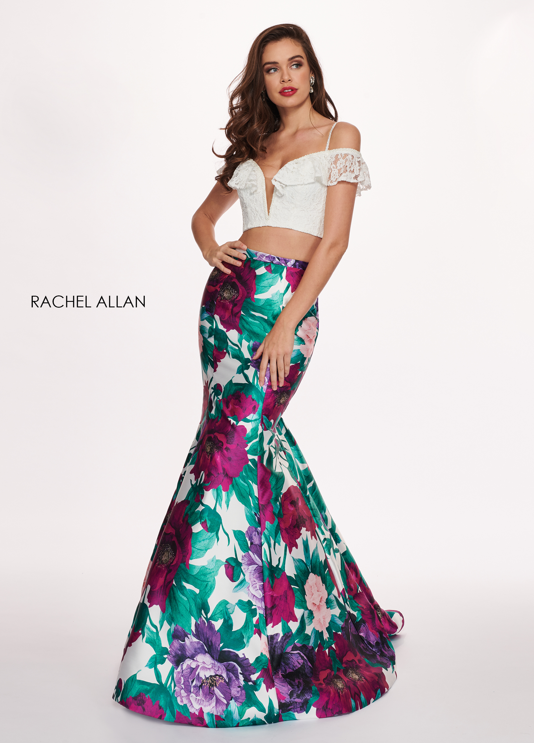 Off The Shoulder Two-Piece Prom Dresses in Magenta Color