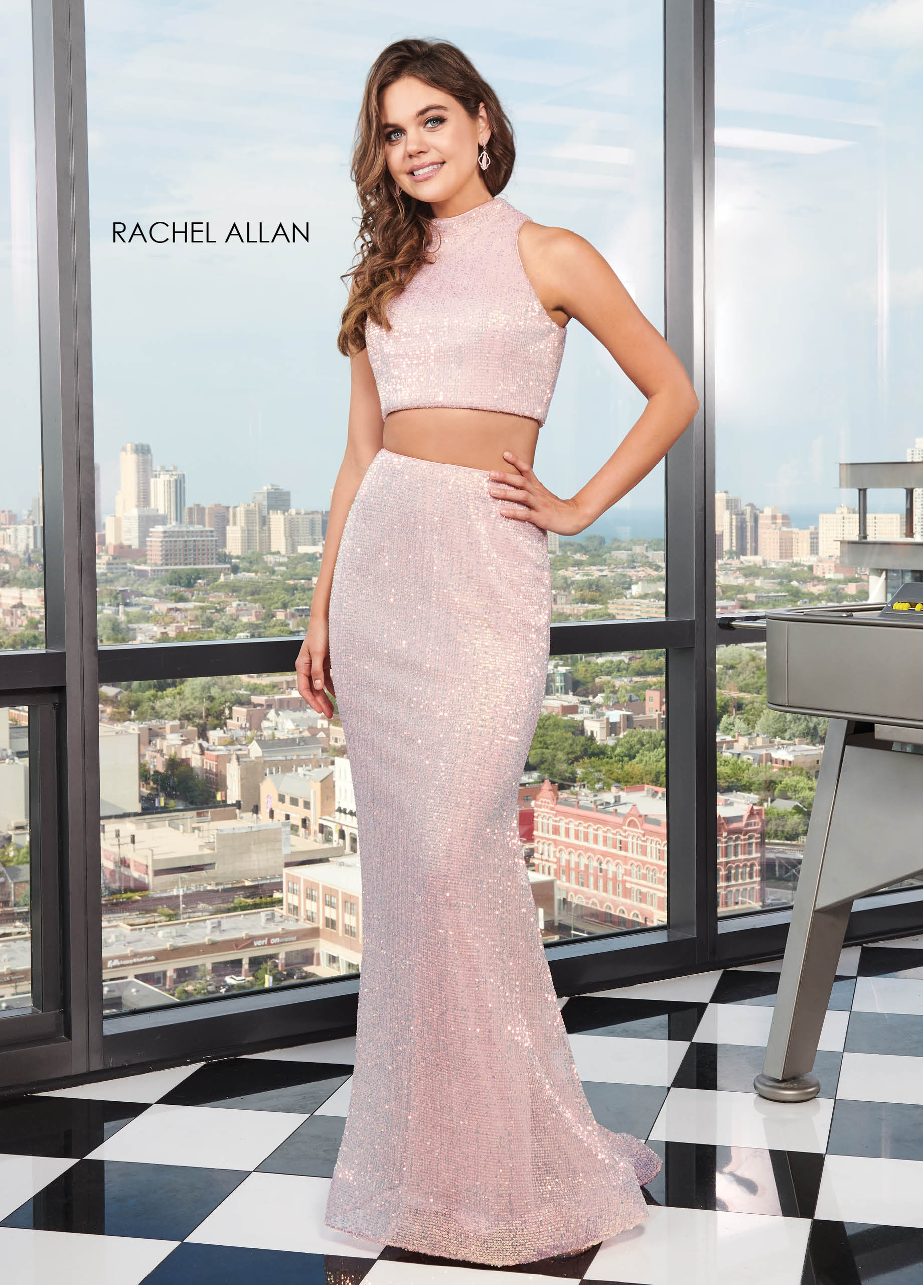 High Neckline Two-Piece BEST SELLERS in Pink Color