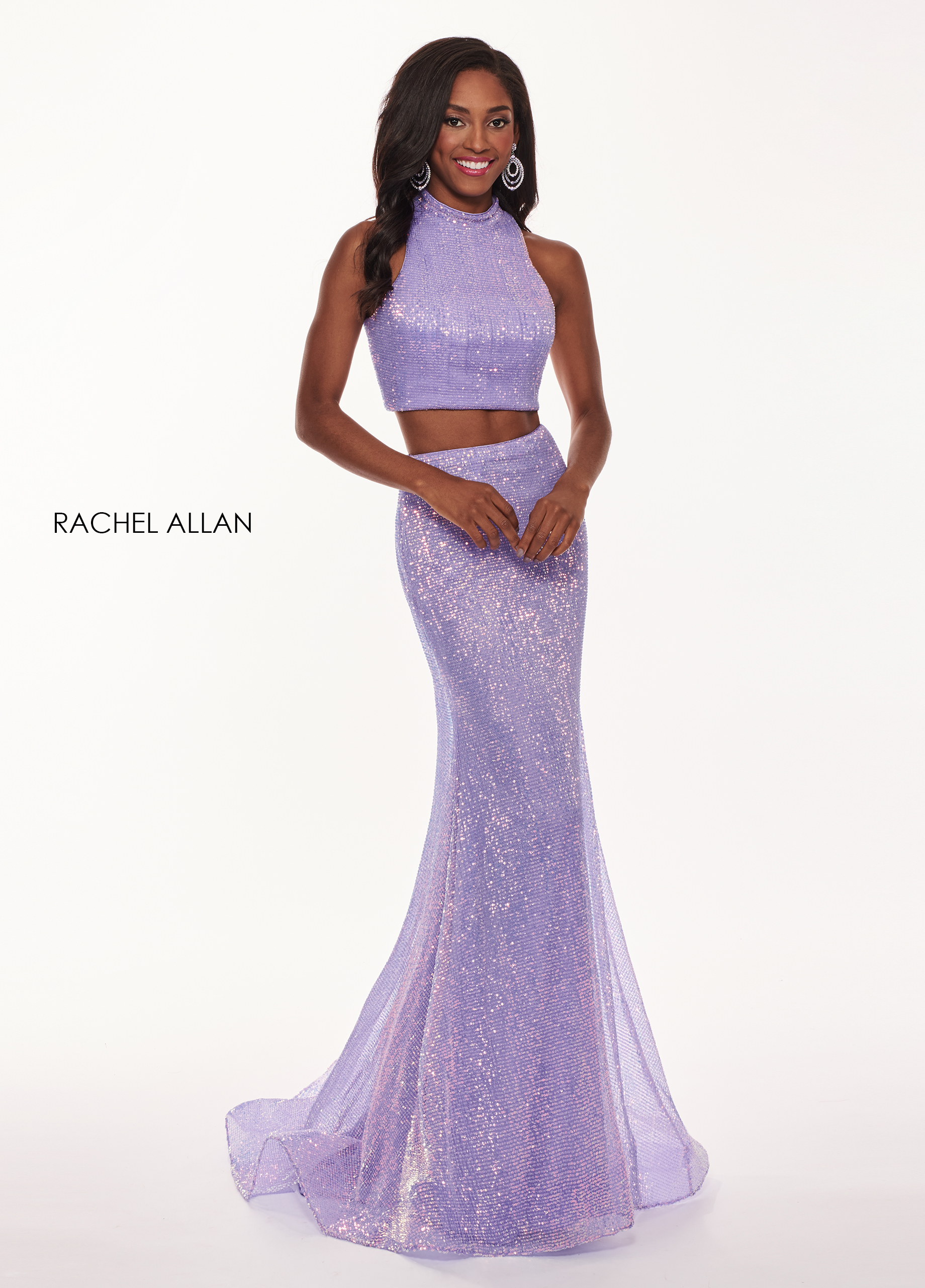 High Neckline Two-Piece Prom Dresses in Purple Color