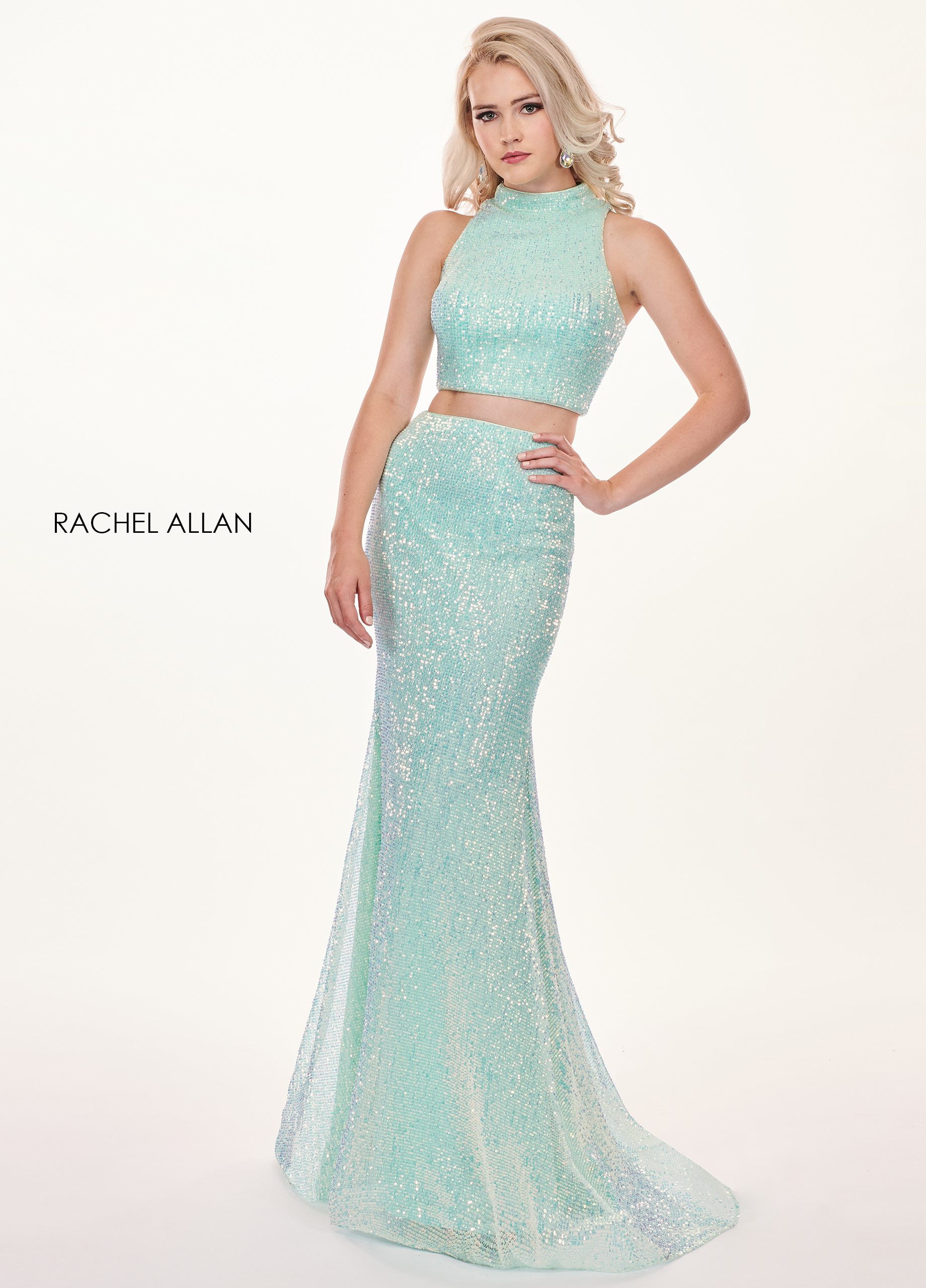 High Neckline Two-Piece Prom Dresses in Mint Color