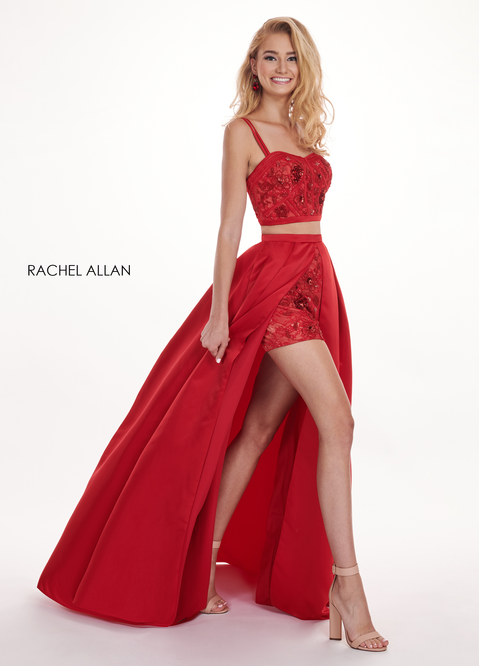 Sweetheart Shorts With Overlay Prom Dresses in Red Color