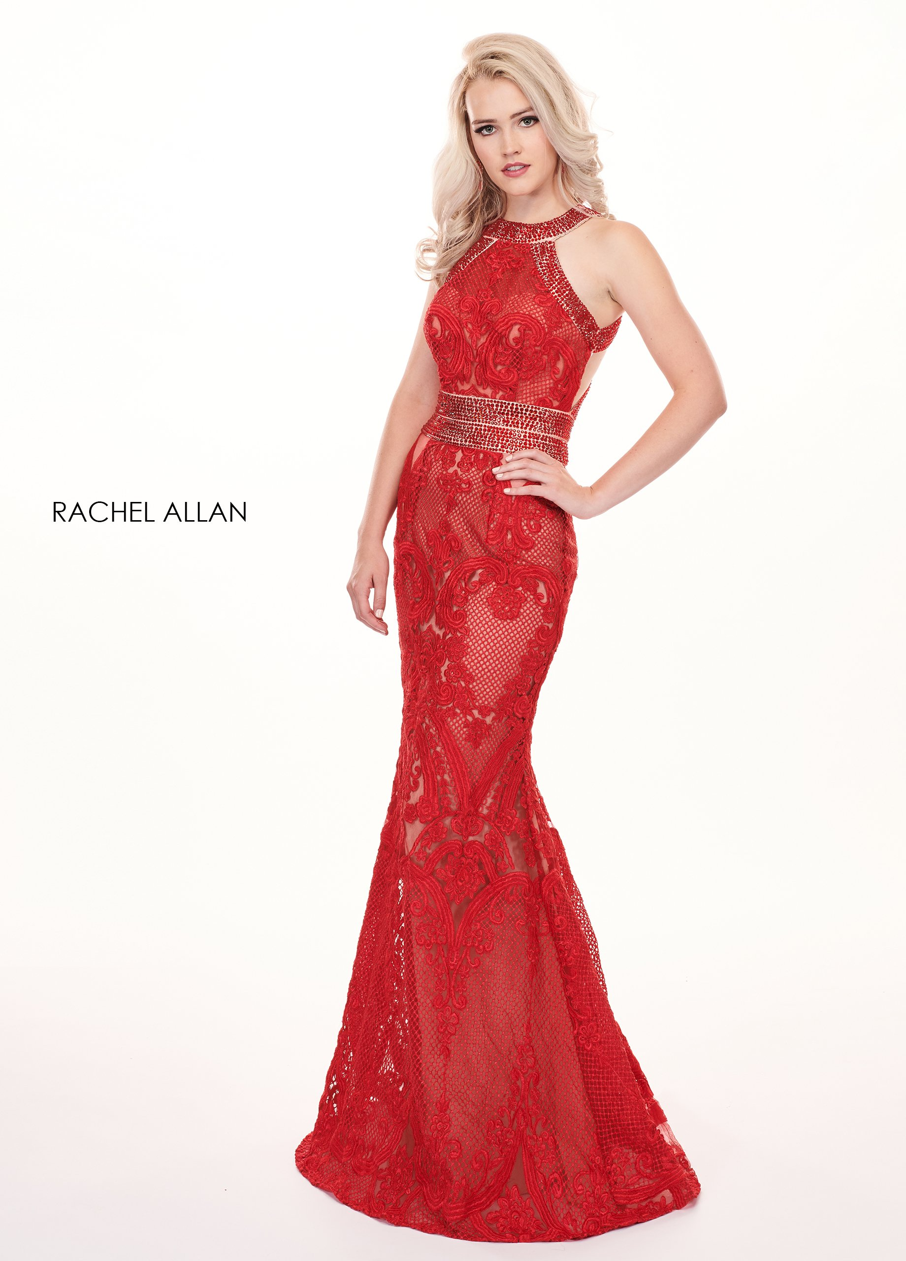 Halter Fit & Flare Prom Dresses in Red Color