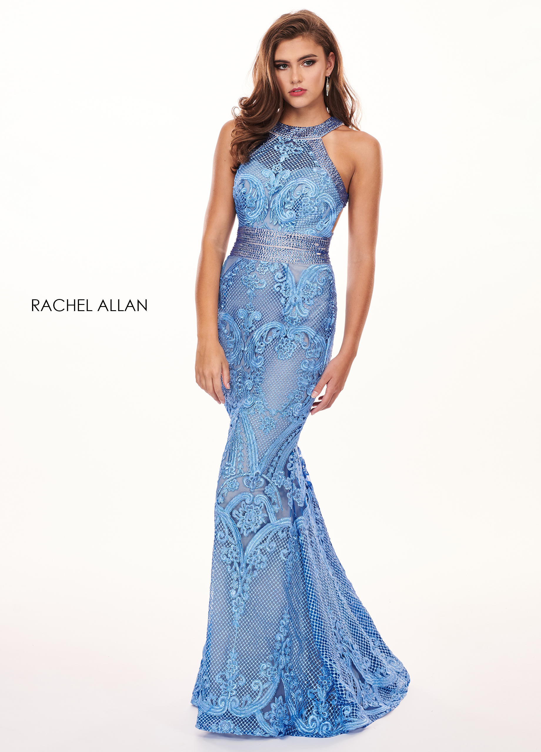 Halter Fit & Flare Prom Dresses in Turquoise Color