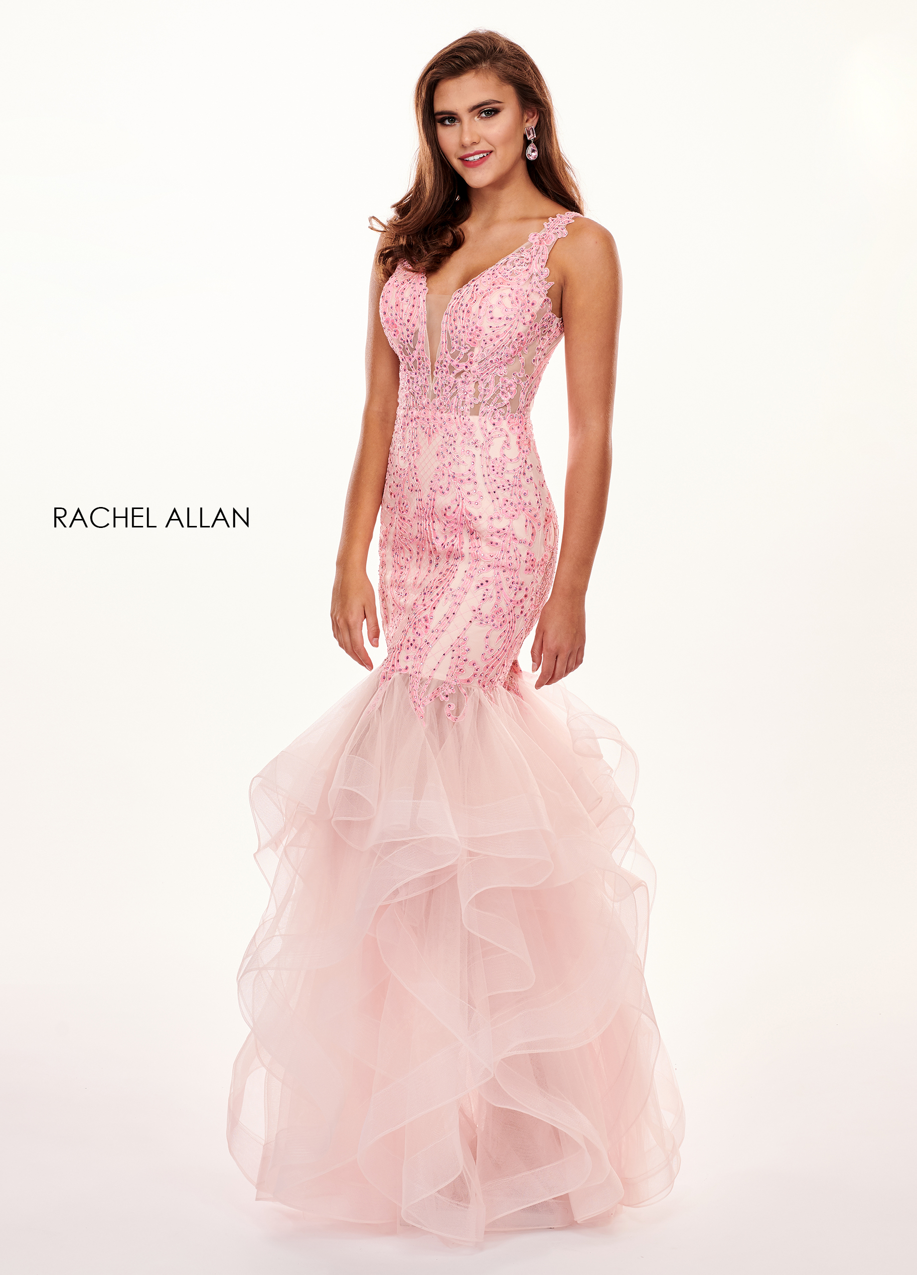 V-Neck Mermaid Prom Dresses in Pink Color