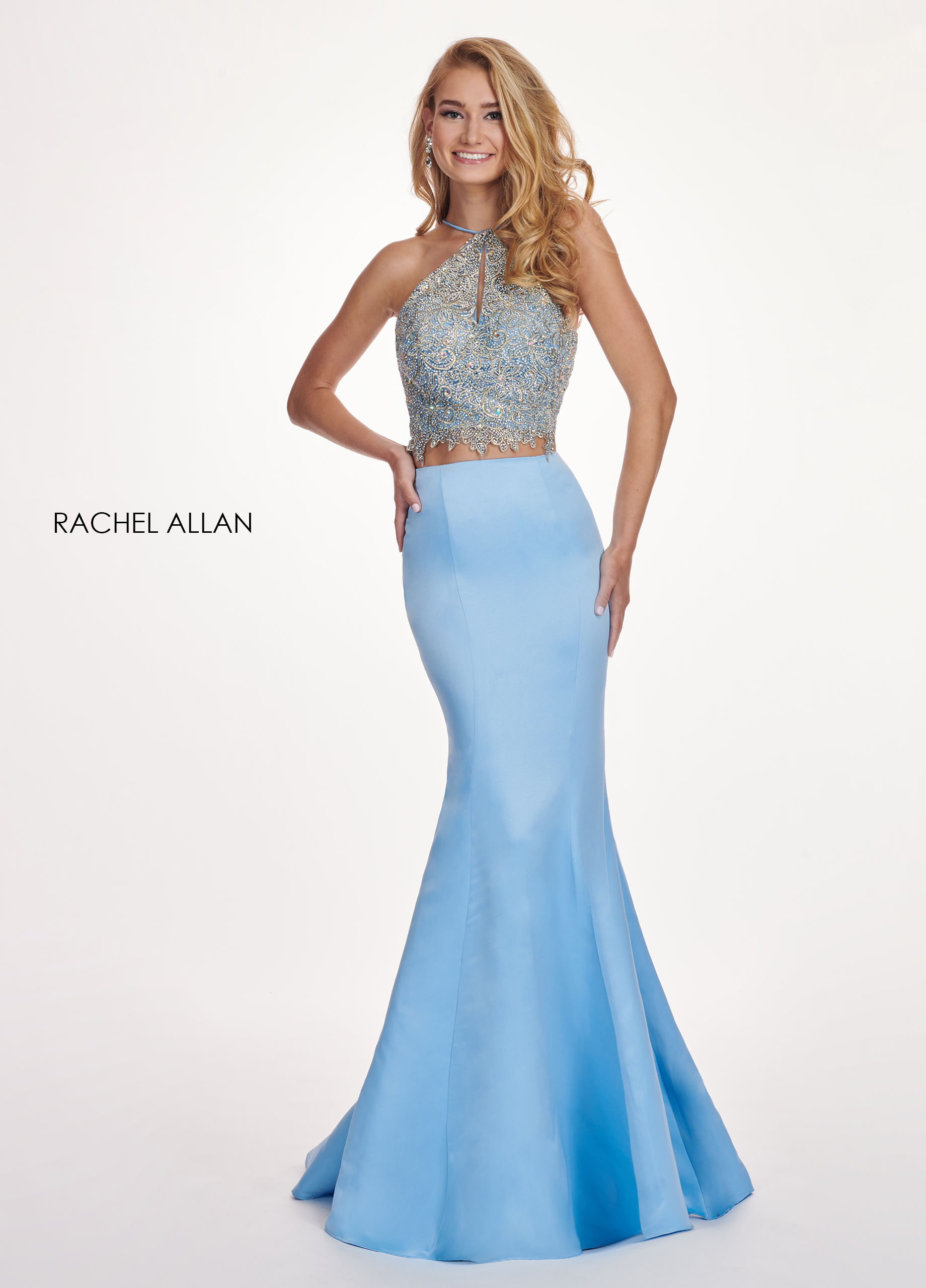 Halter Fit & Flare Prom Dresses in Blue Color