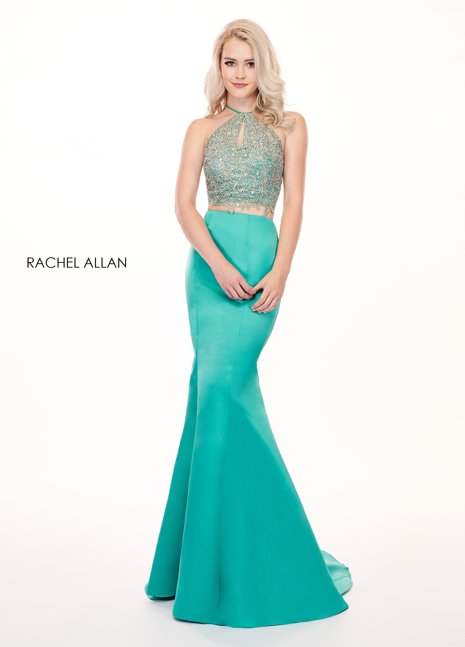 Halter Fit & Flare Prom Dresses in Green Color