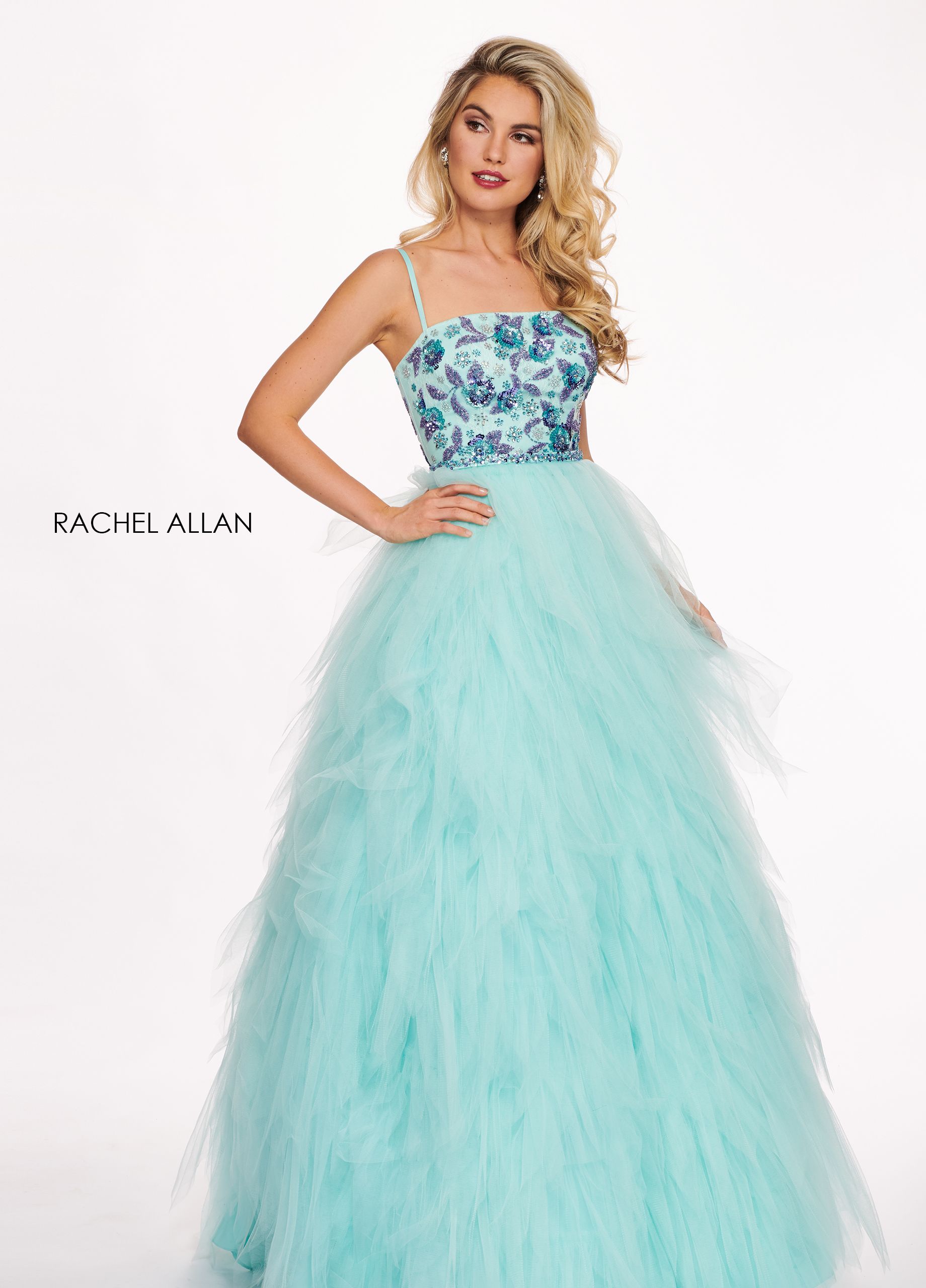 Square Ball Gowns Prom Dresses in Blue Color