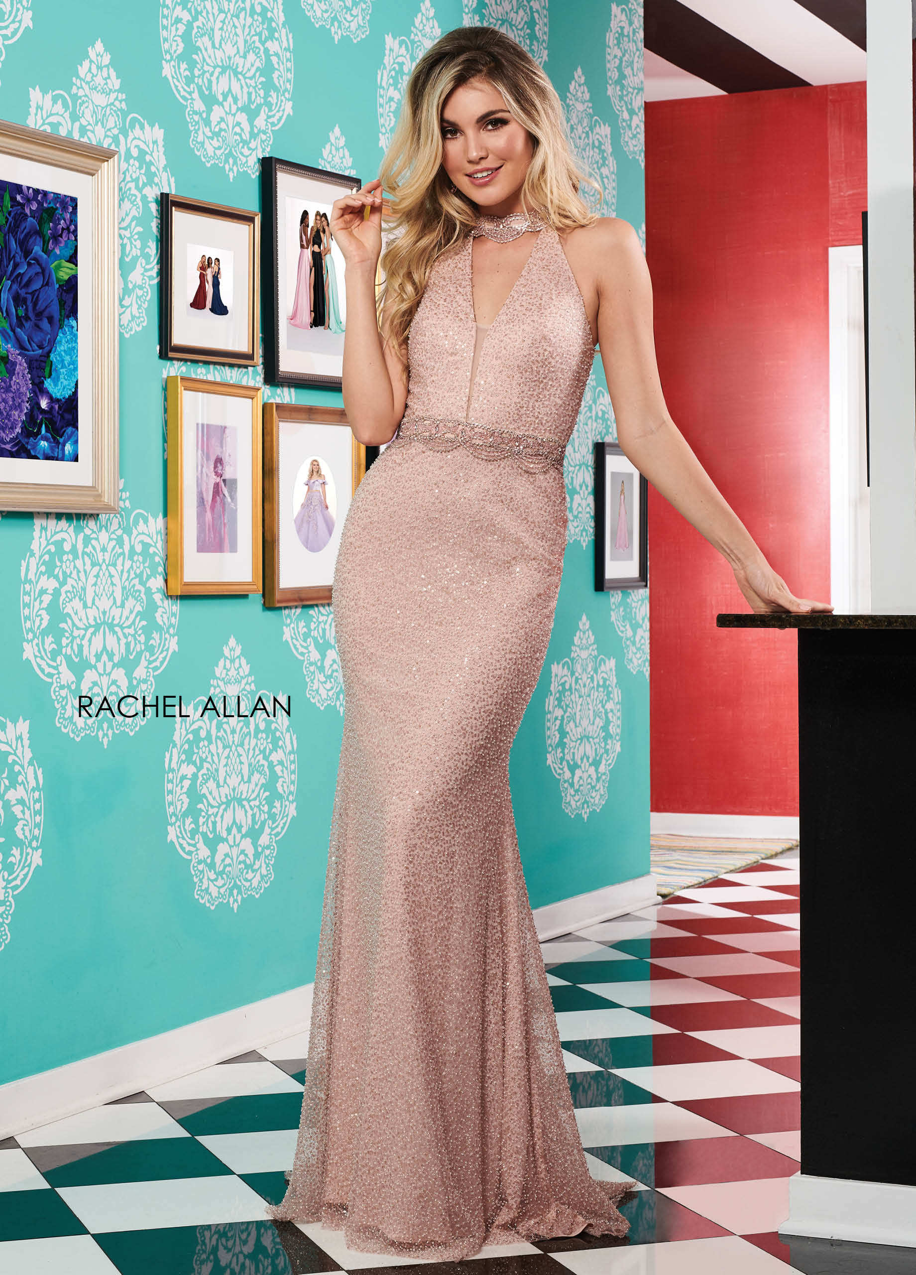Choker Fit & Flare Prom Dresses in Champagne Color