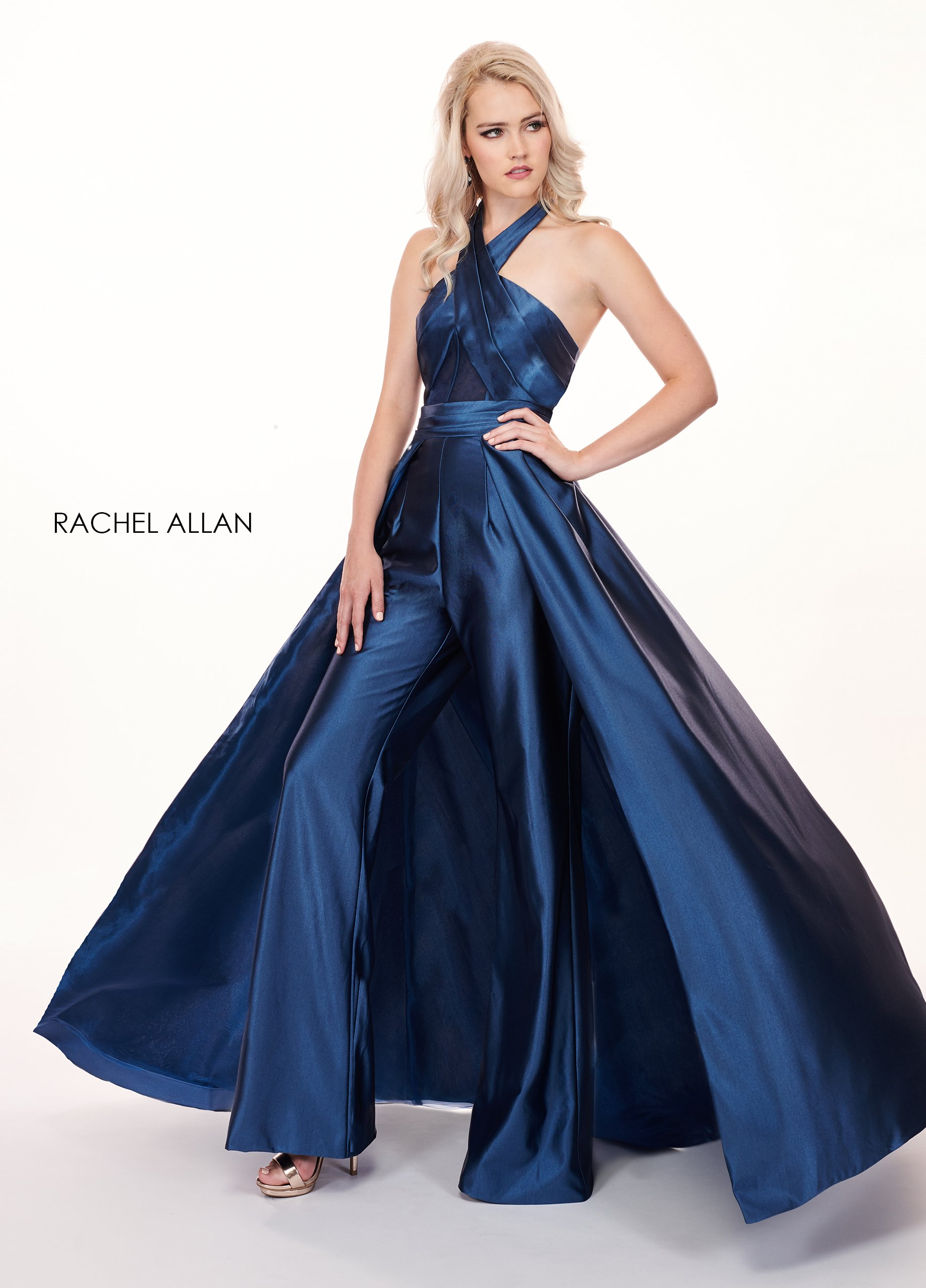 Halter Pants With Overlay Prom Dresses in Navy Color