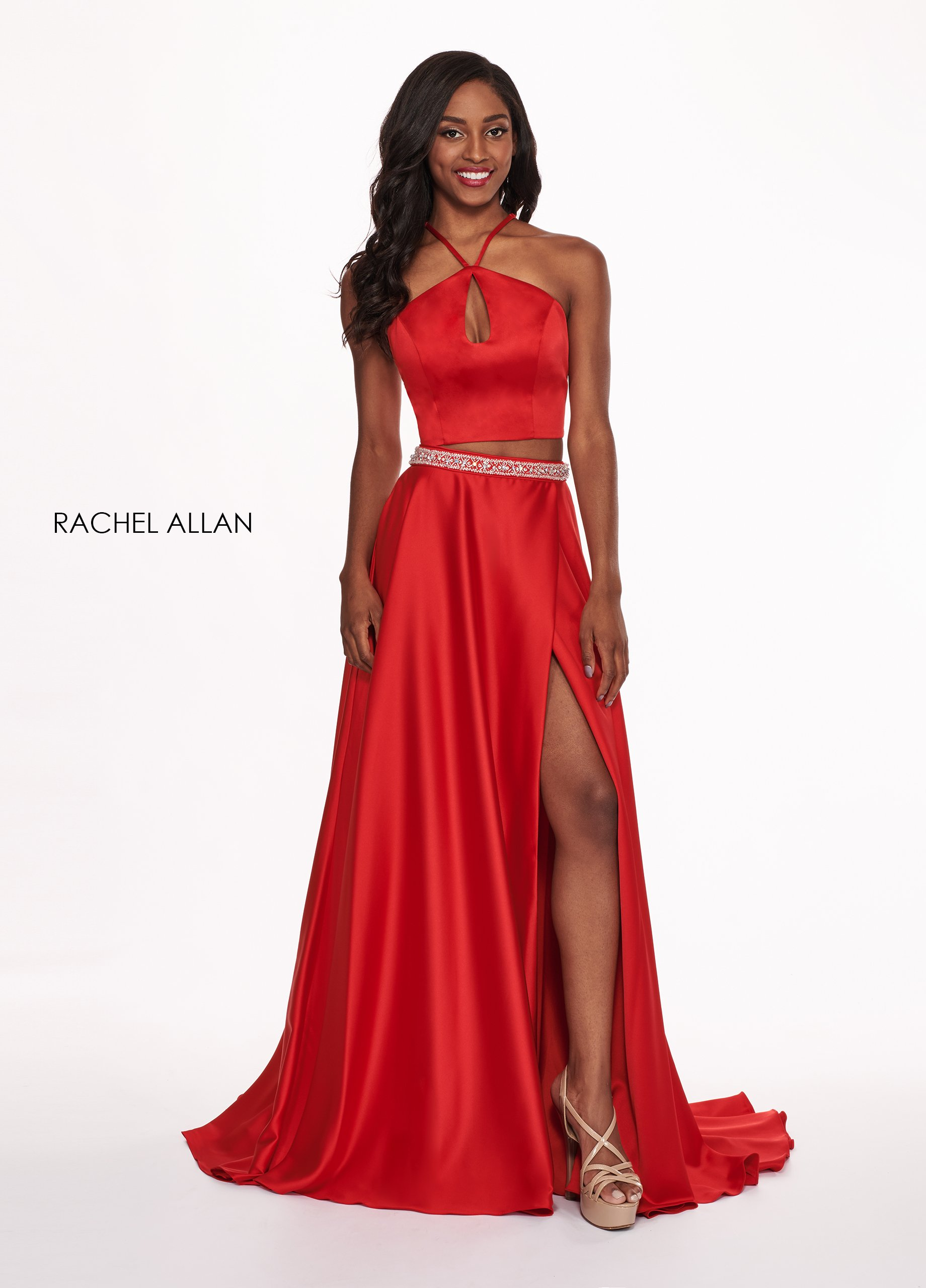 Halter Two-Piece Prom Dresses in Red Color