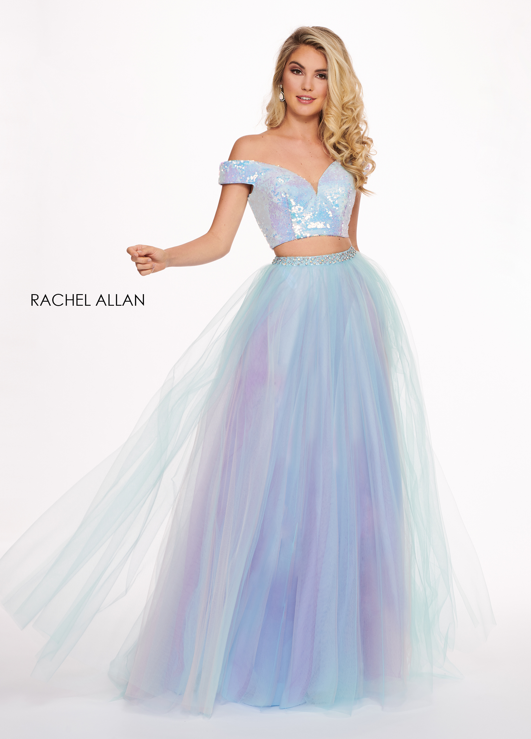 Off The Shoulder A-Line Prom Dresses in Blue Color