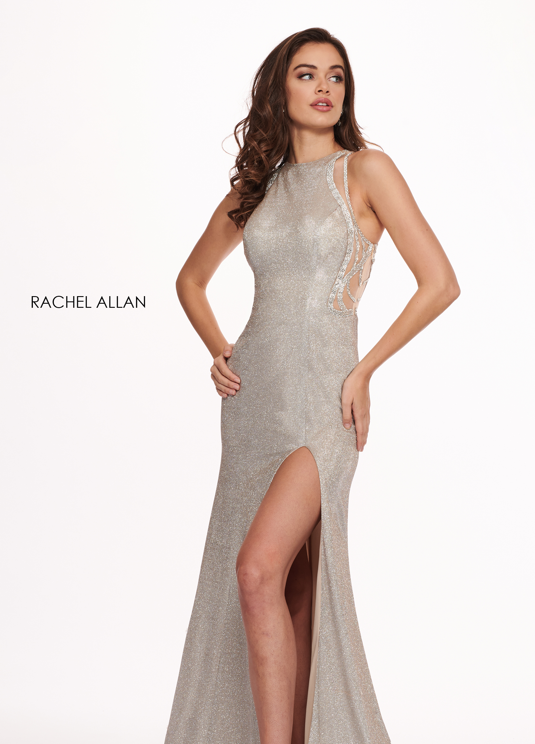 Scoop Neck Fit & Flare Prom Dresses in Silver/gunmetal Color