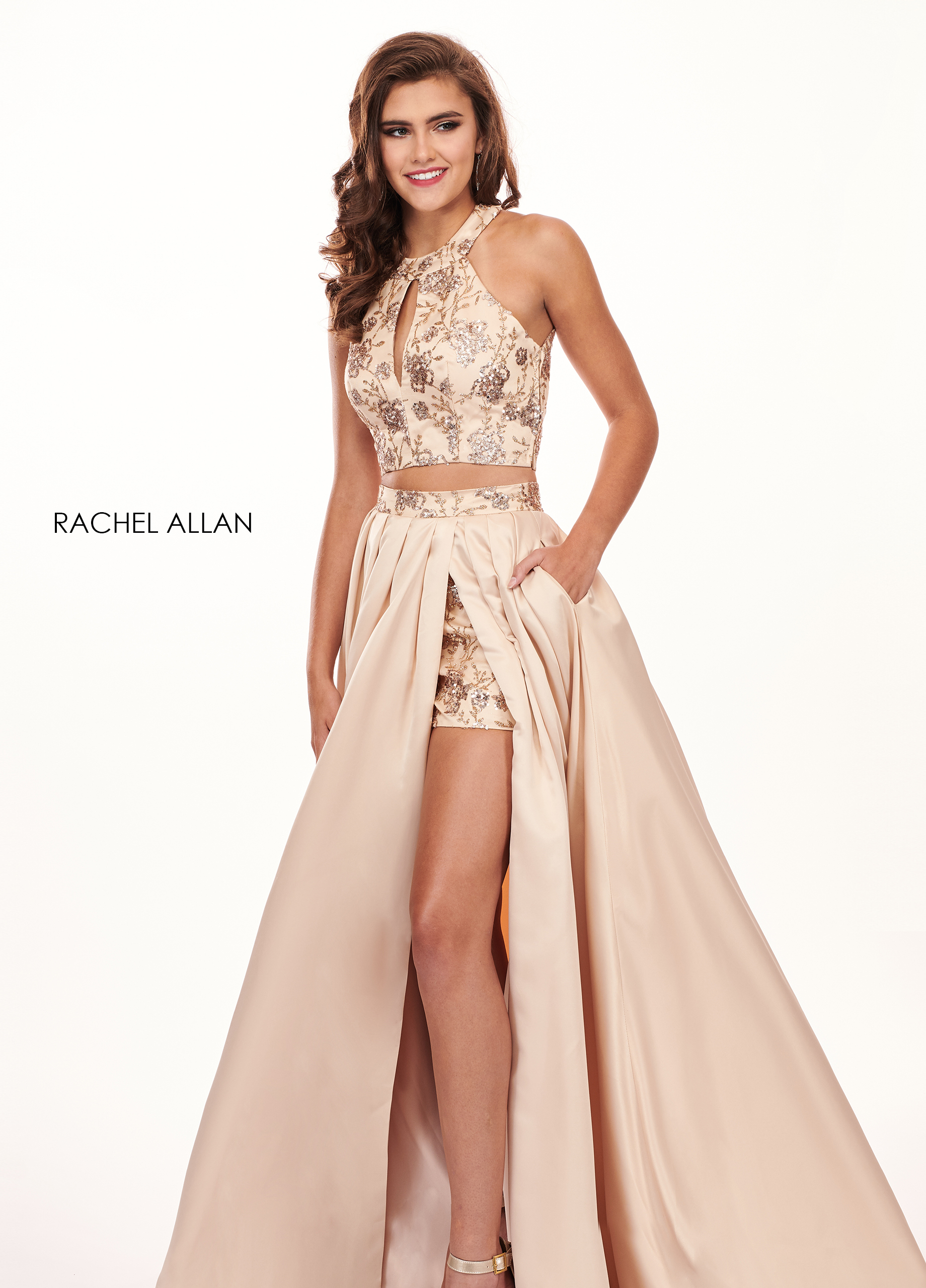 High Neckline Shorts With Overlay Prom Dresses in Gold Color