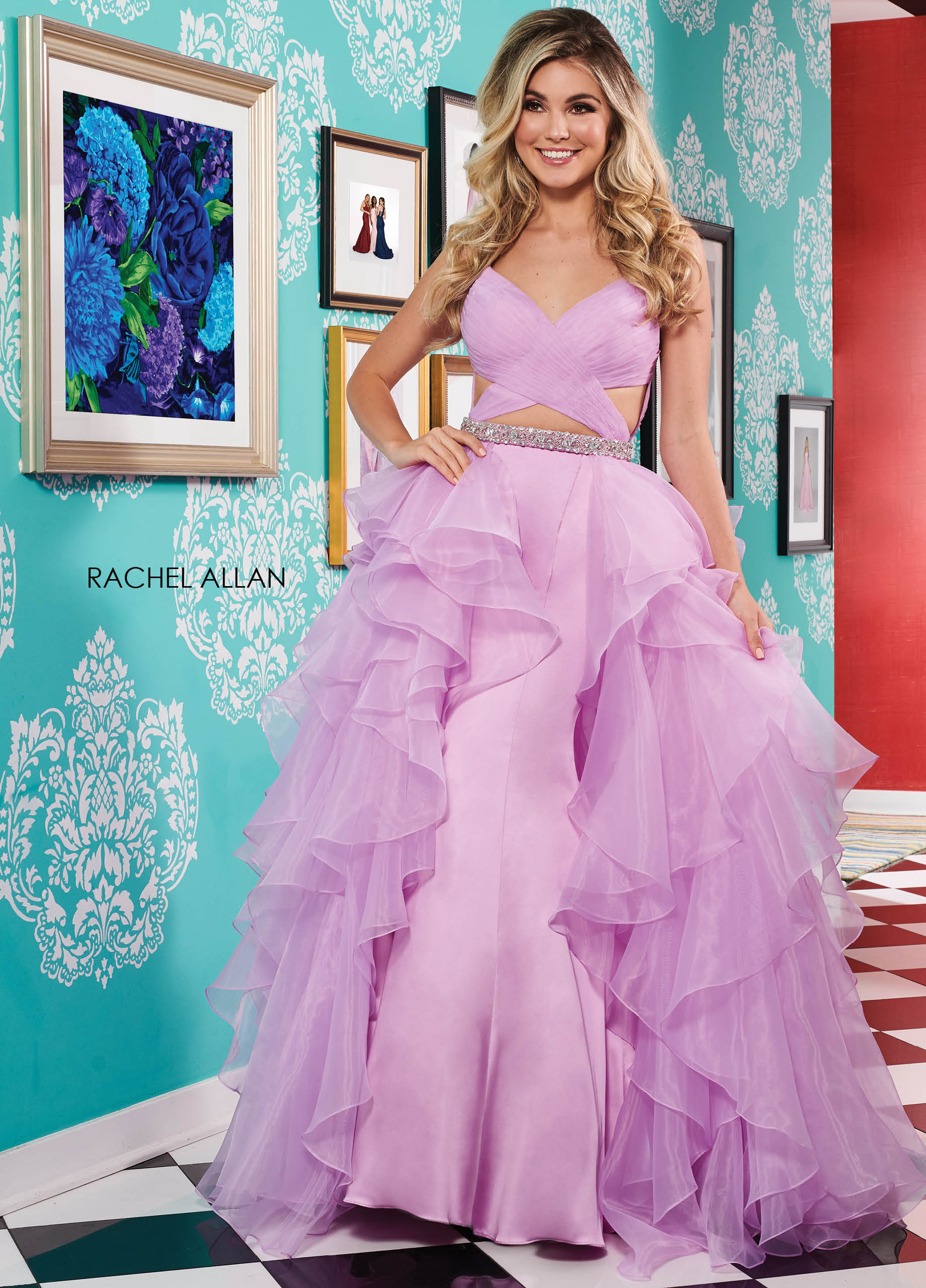 V-Neck Fit & Flare Prom Dresses in Purple Color