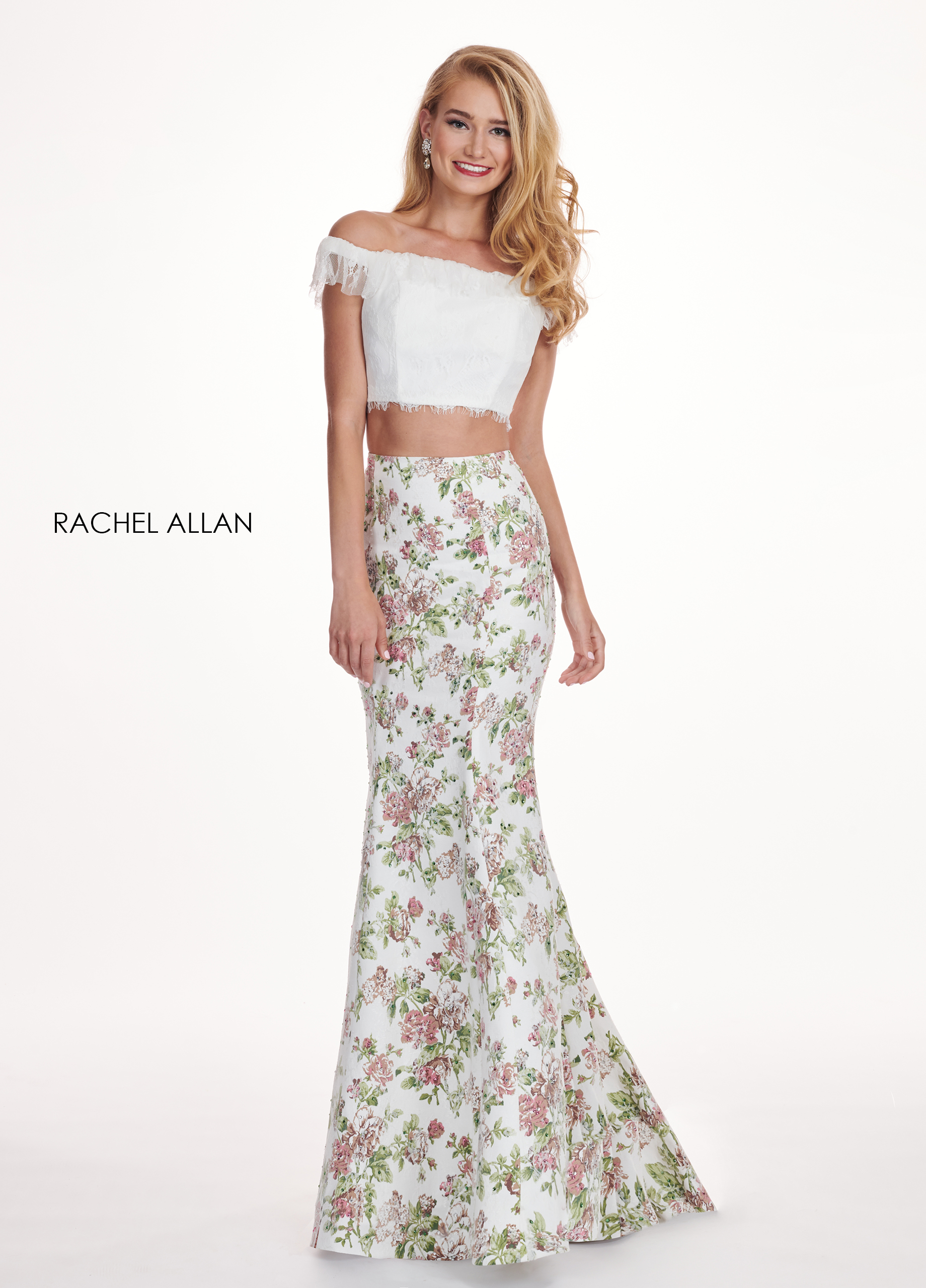 Off The Shoulder Two-Piece Prom Dresses in White Color