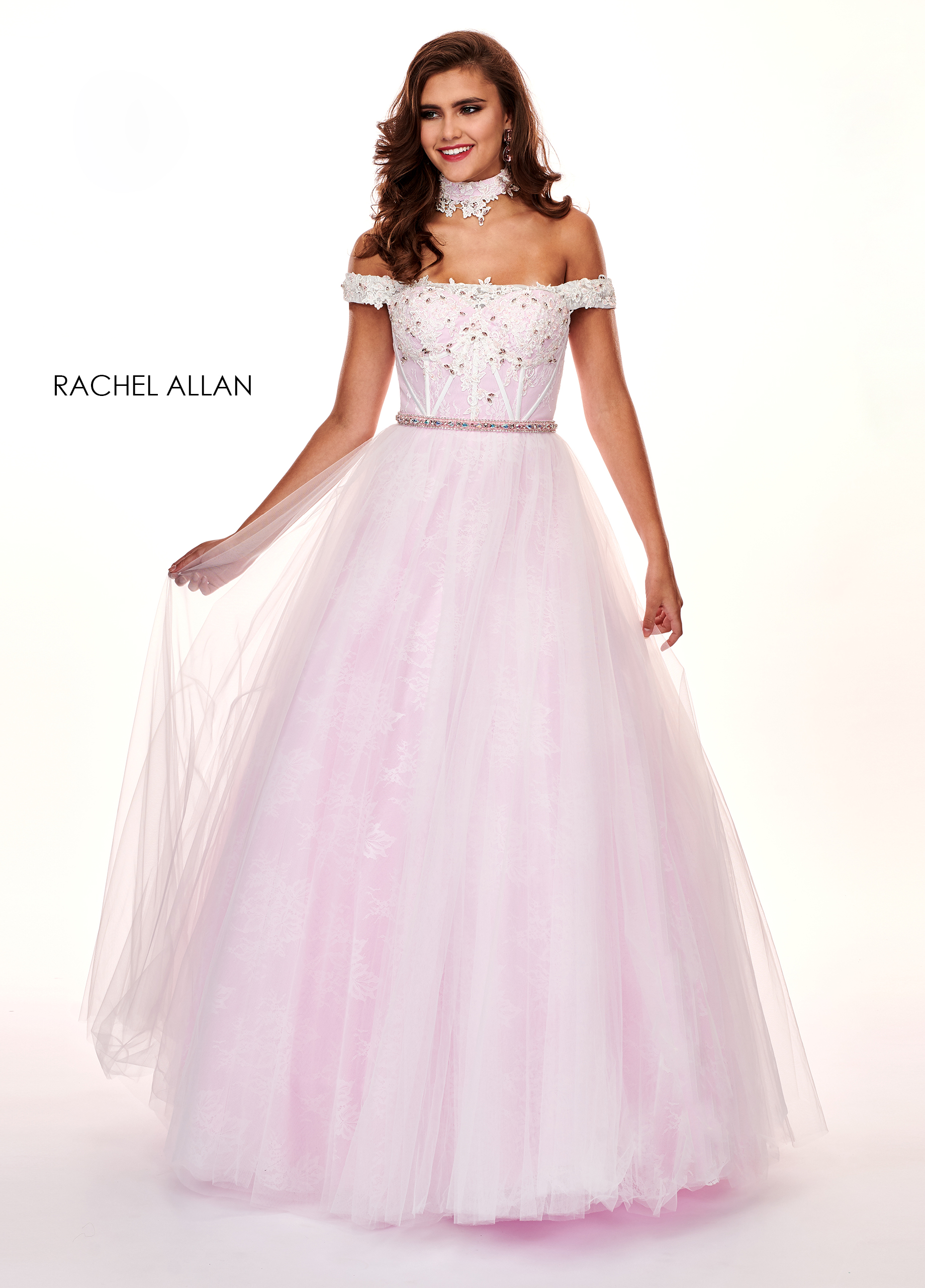 Off The Shoulder Ball Gowns Prom Dresses in Pink Color