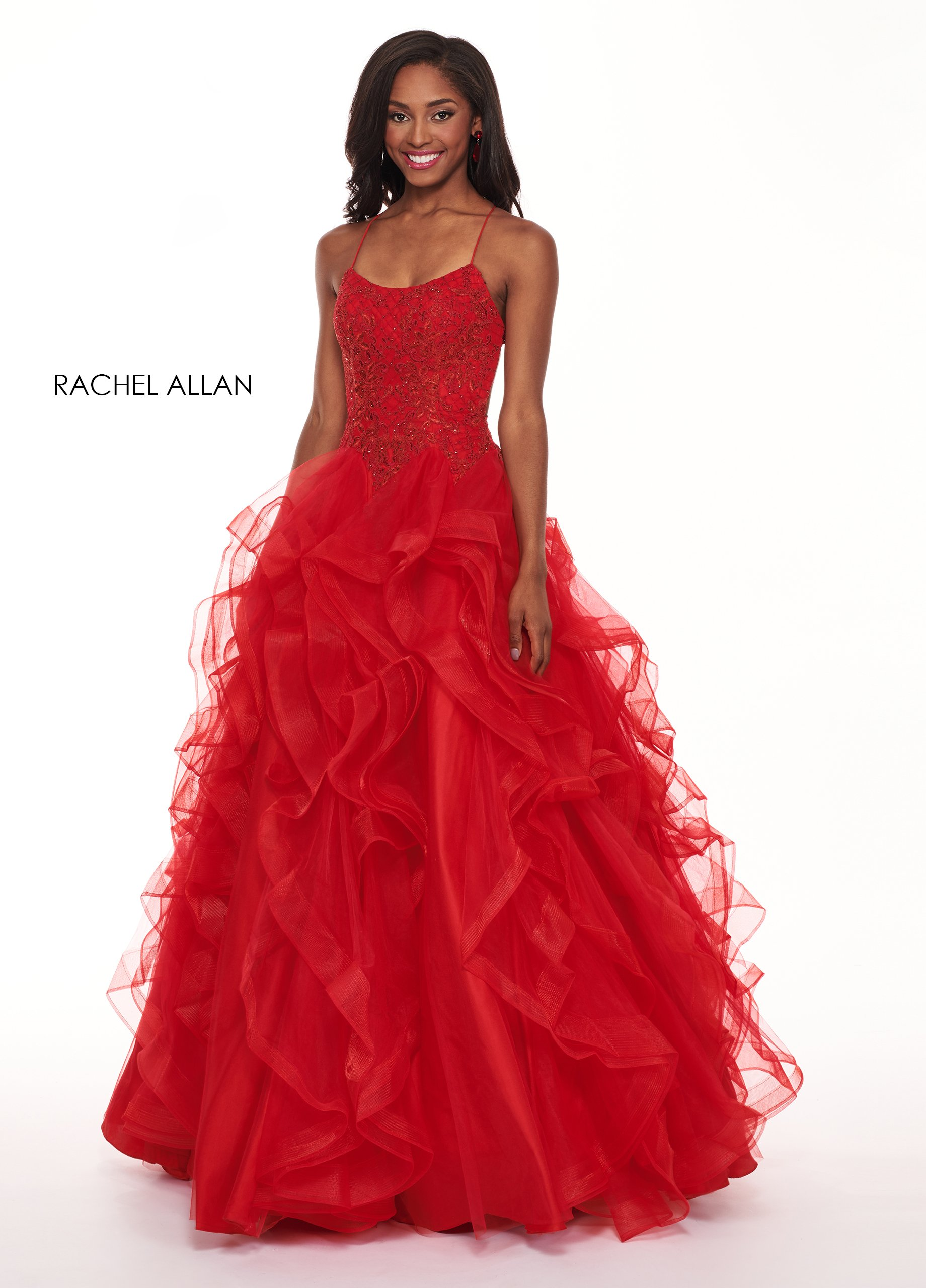 Scoop Neck Ball Gowns Prom Dresses in Red Color