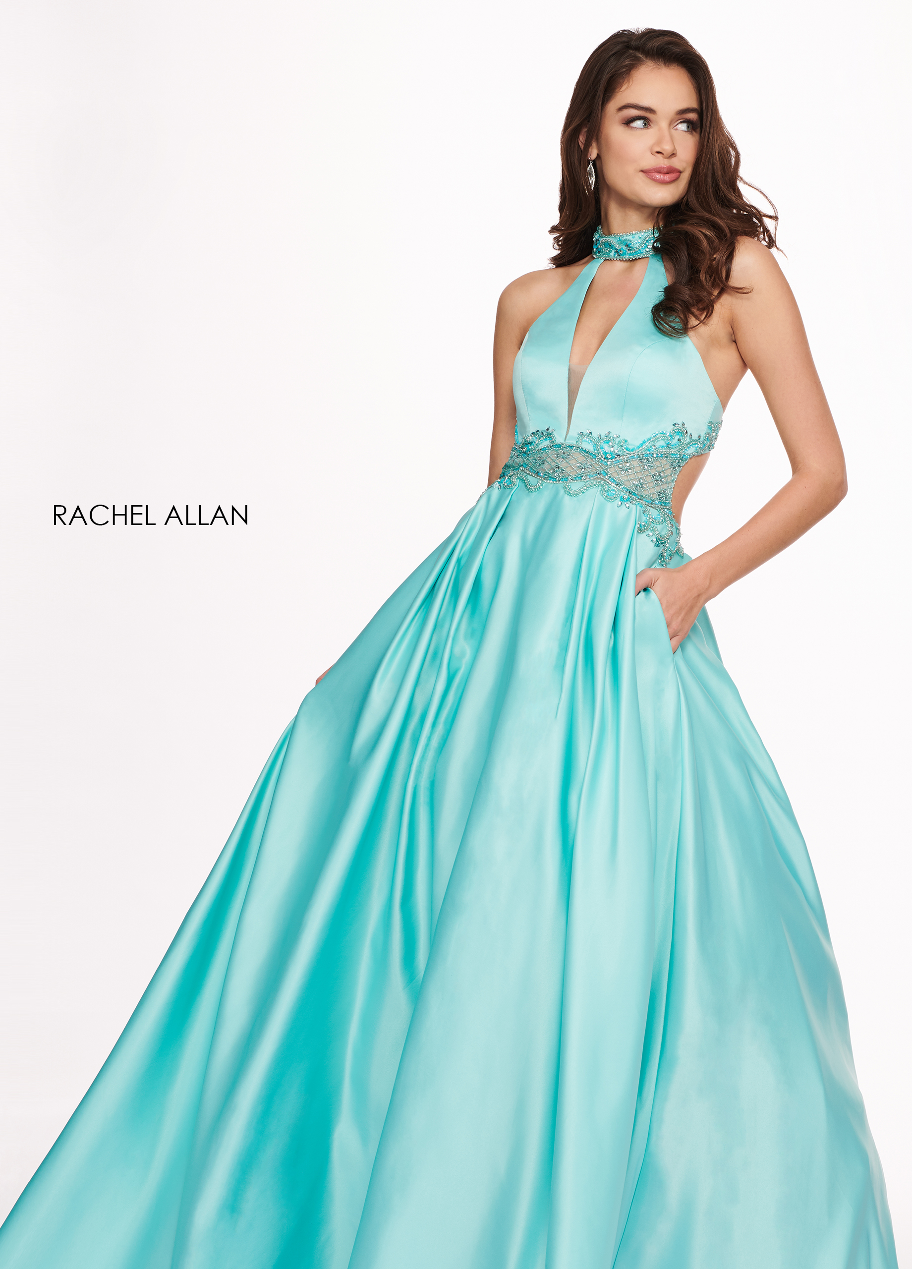 Choker A-Line Prom Dresses in Mint Color