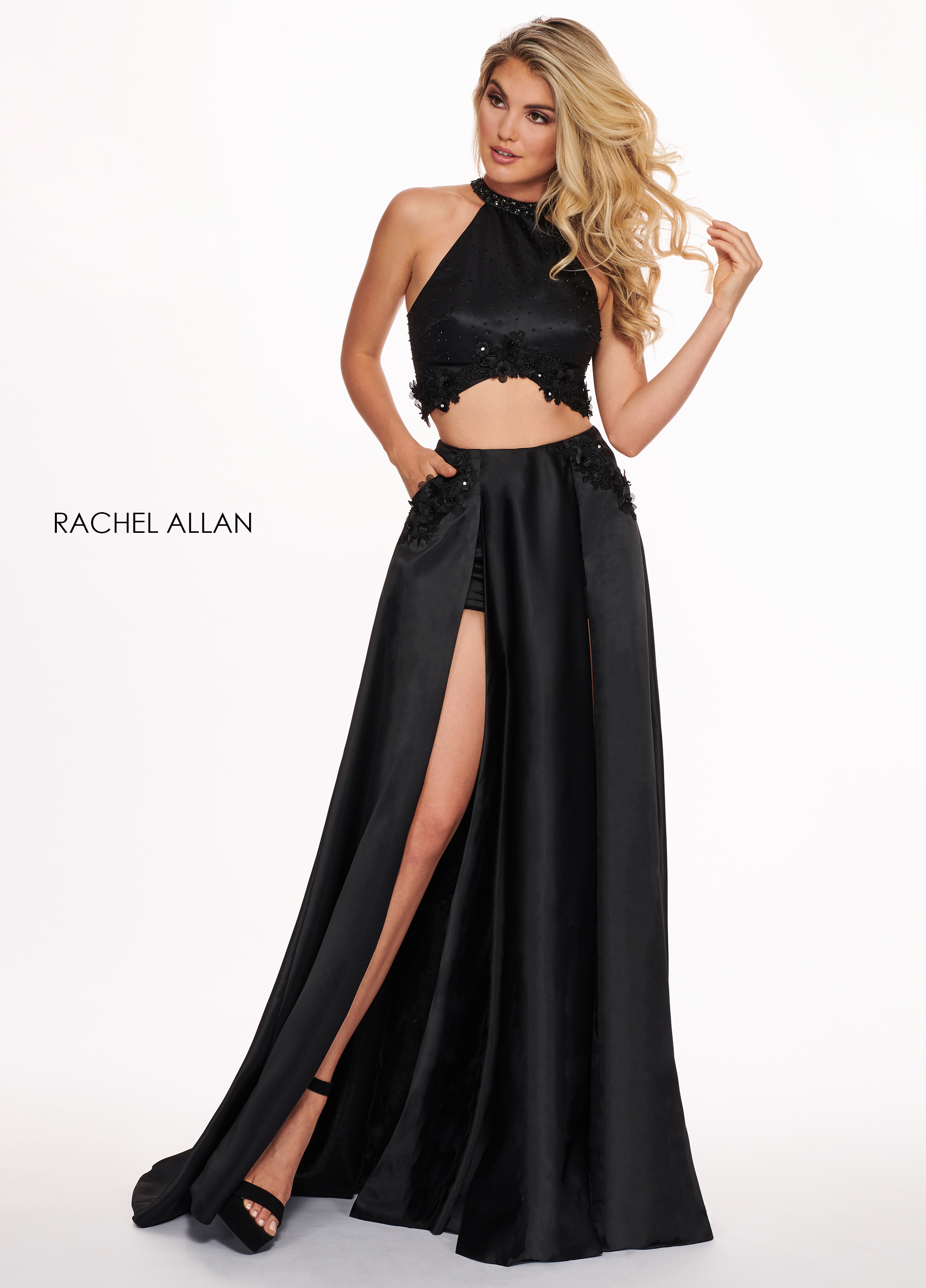 High Neckline Shorts With Overlay Prom Dresses in Black Color