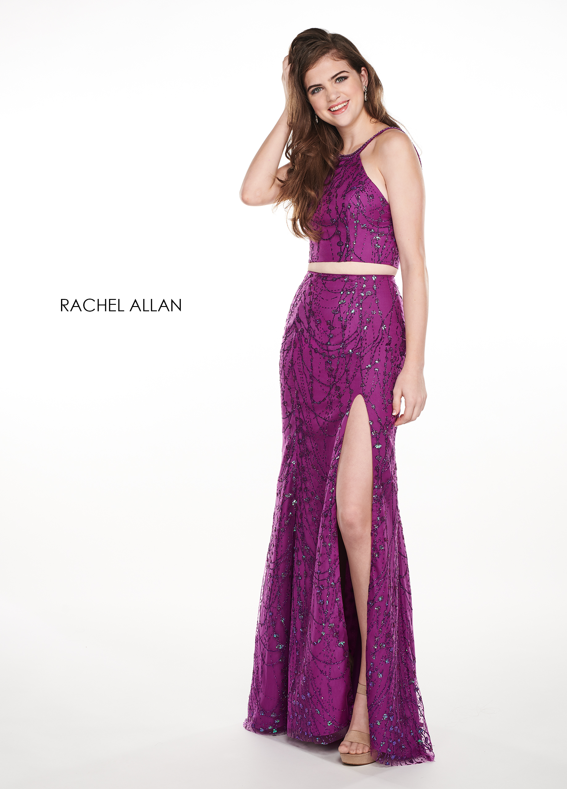V-Neck A-Line Prom Dresses in Purple Color