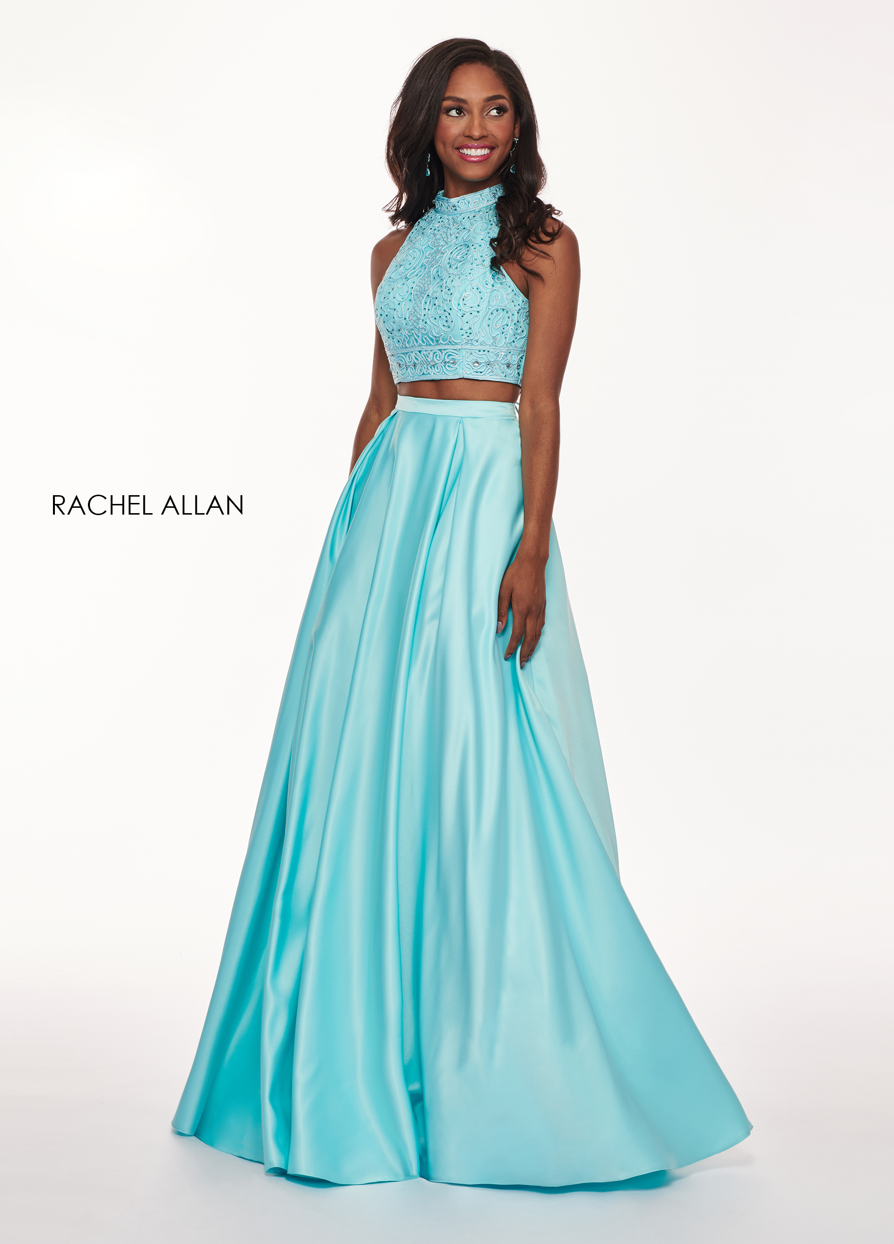Halter Two-Piece Prom Dresses in Blue Color