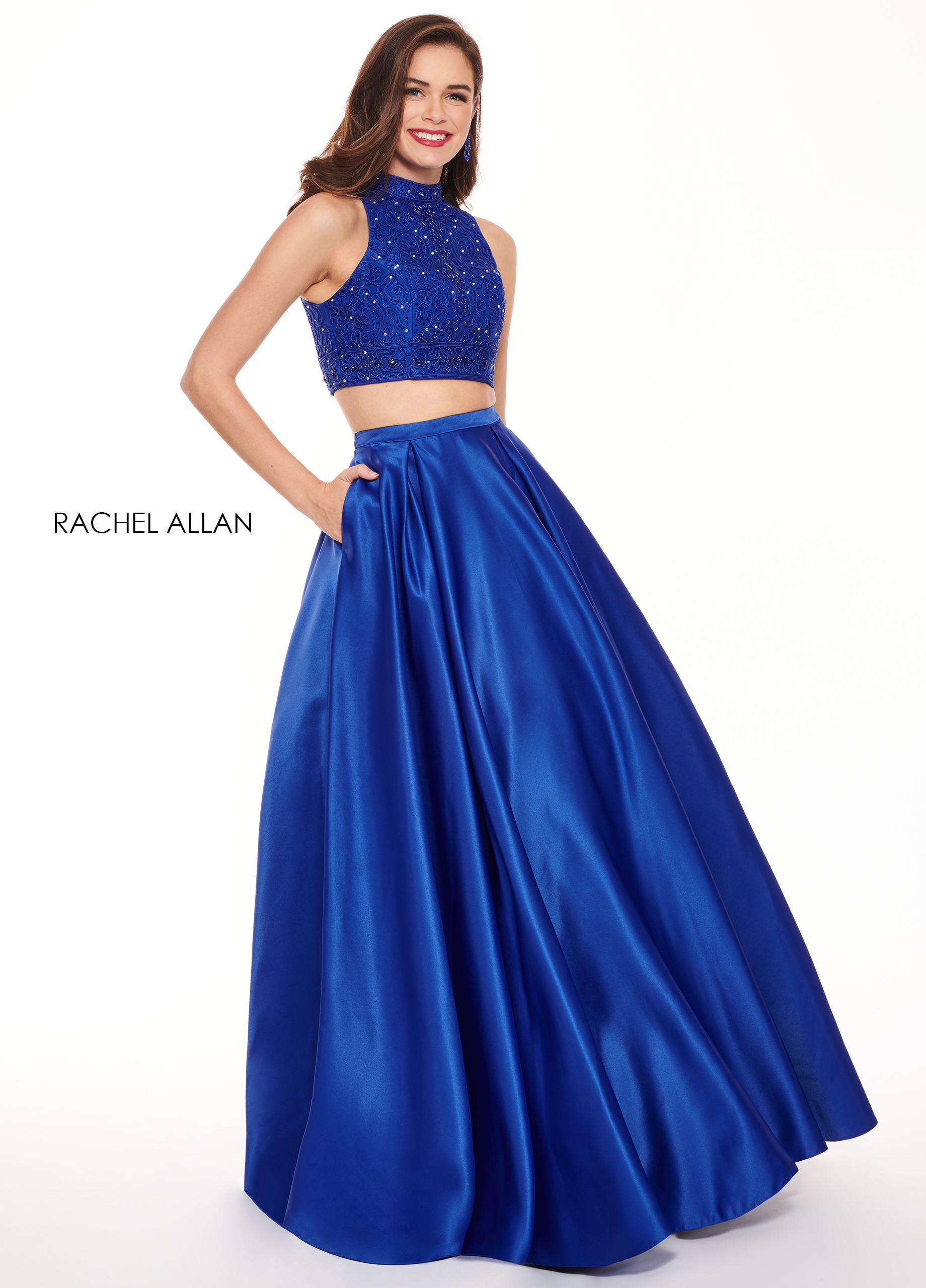 Halter Two-Piece Prom Dresses in Royal Color