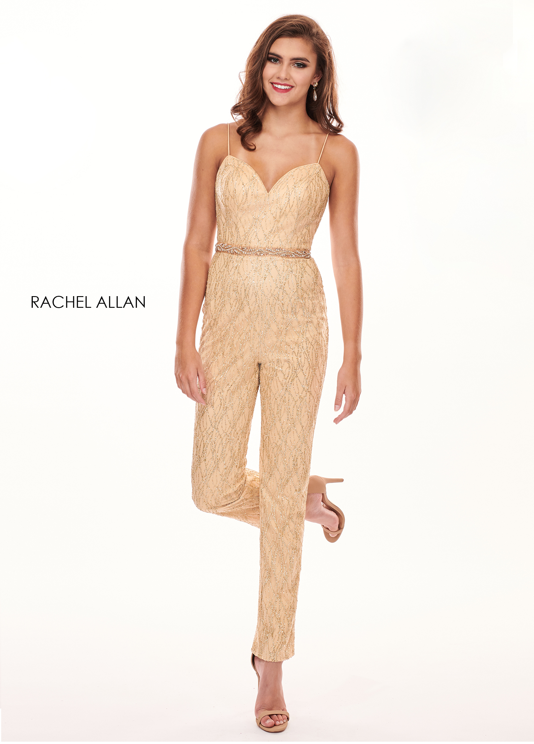 Sweetheart Jumpsuit Prom Dresses in Gold Color