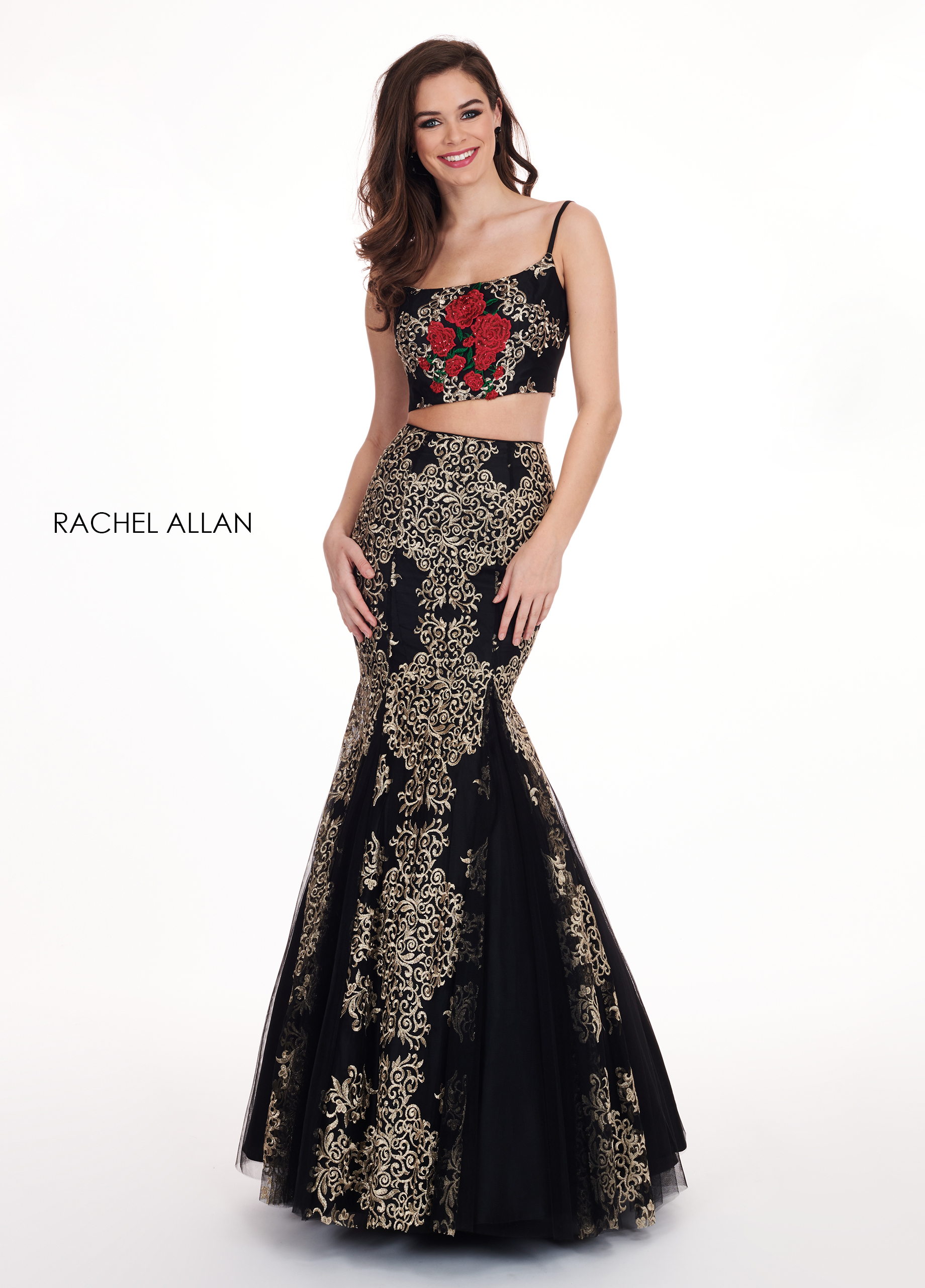 Scoop Neck Two-Piece Prom Dresses in Black Color