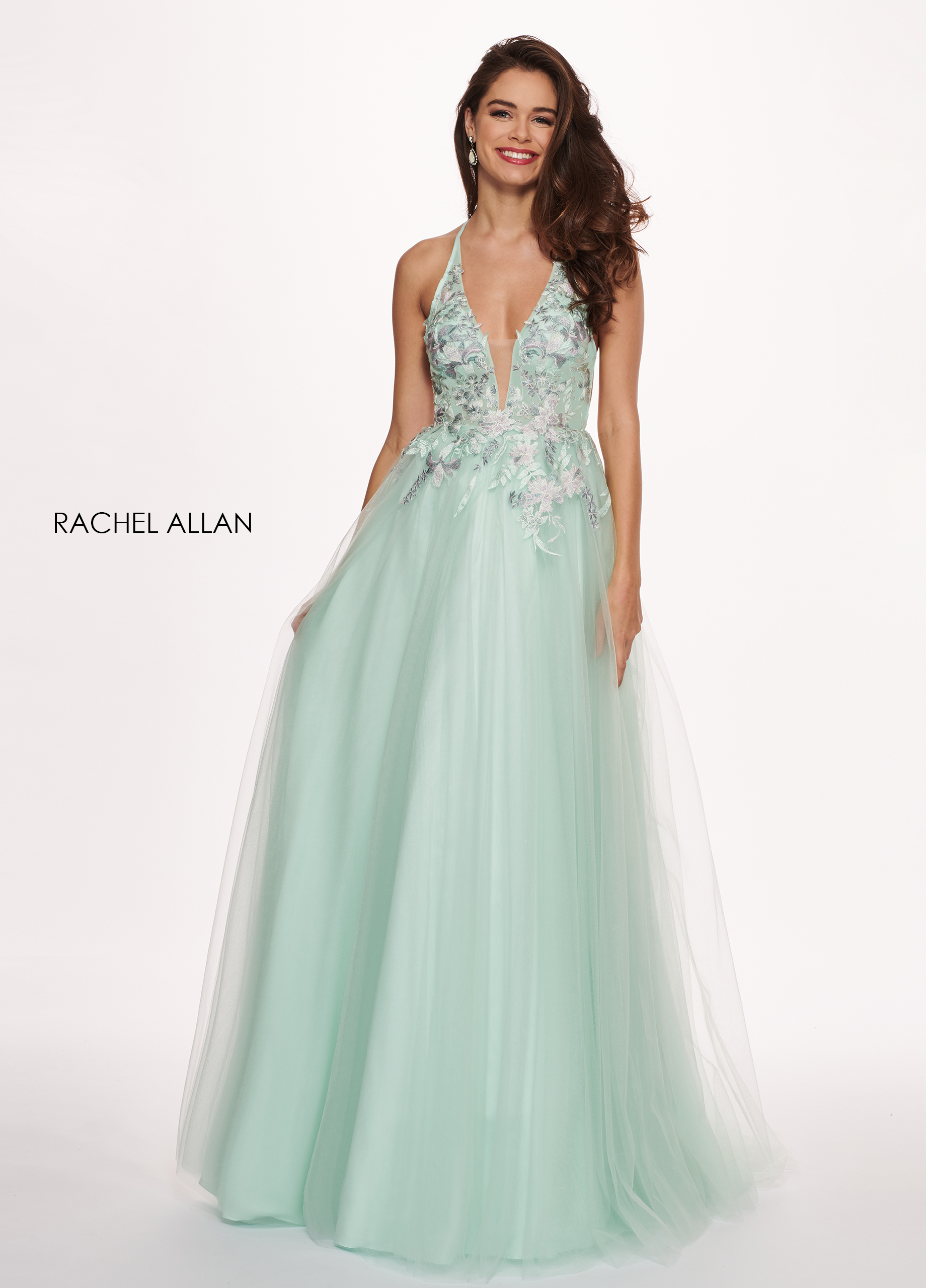 Halter A-Line Prom Dresses in Mint Color