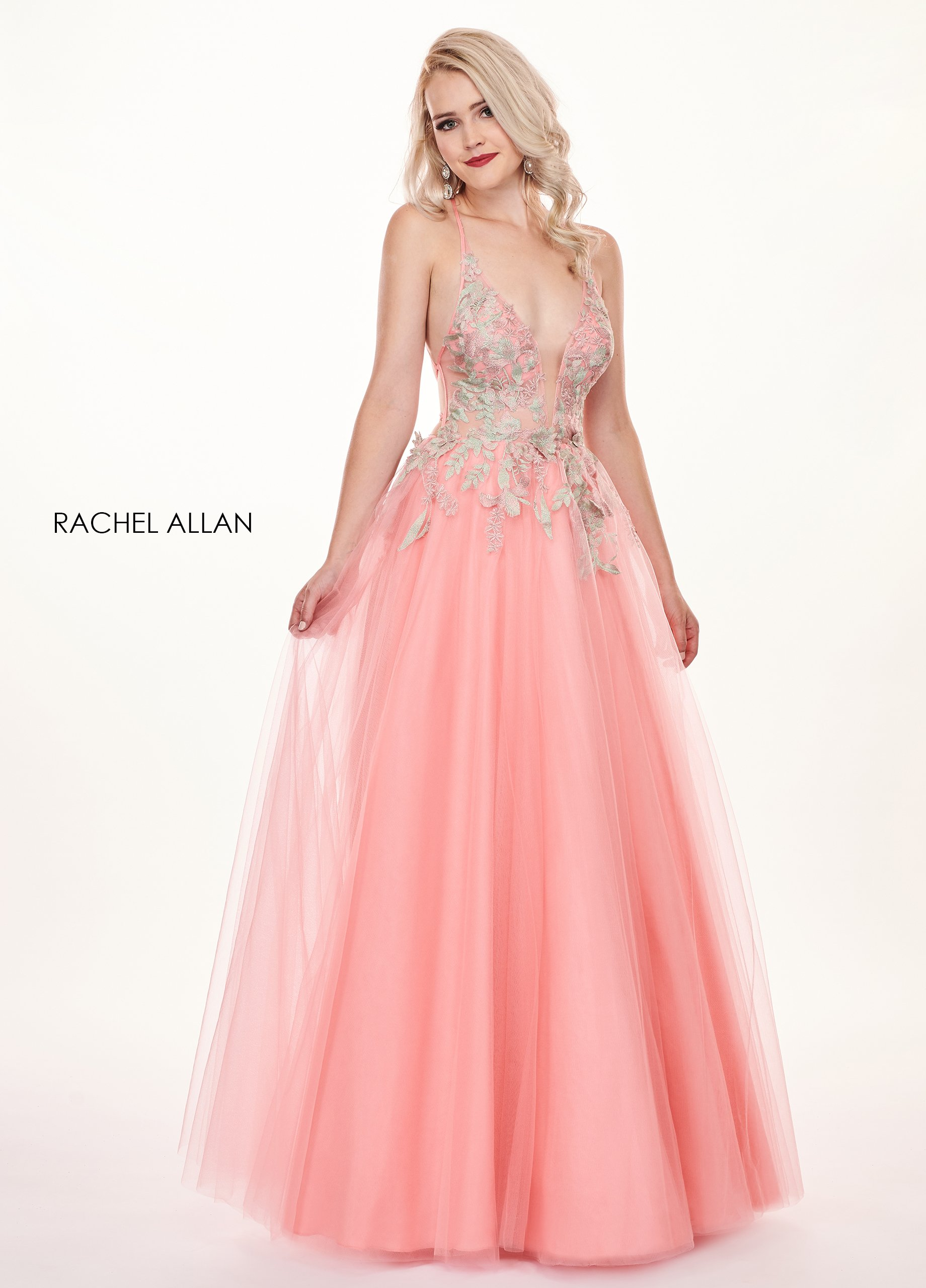 Halter A-Line Prom Dresses in Coral Color