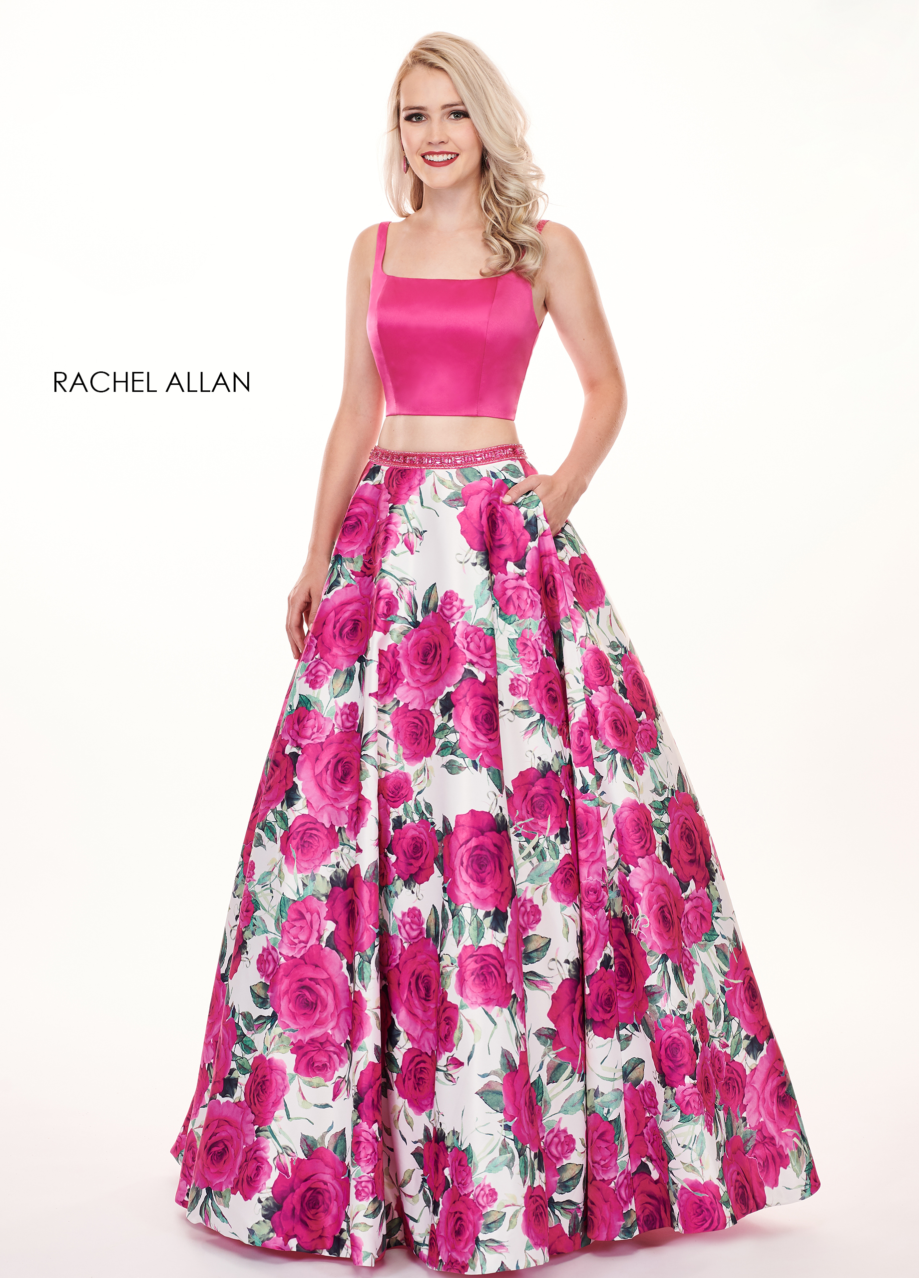 Square Two-Piece Prom Dresses in Magenta Color