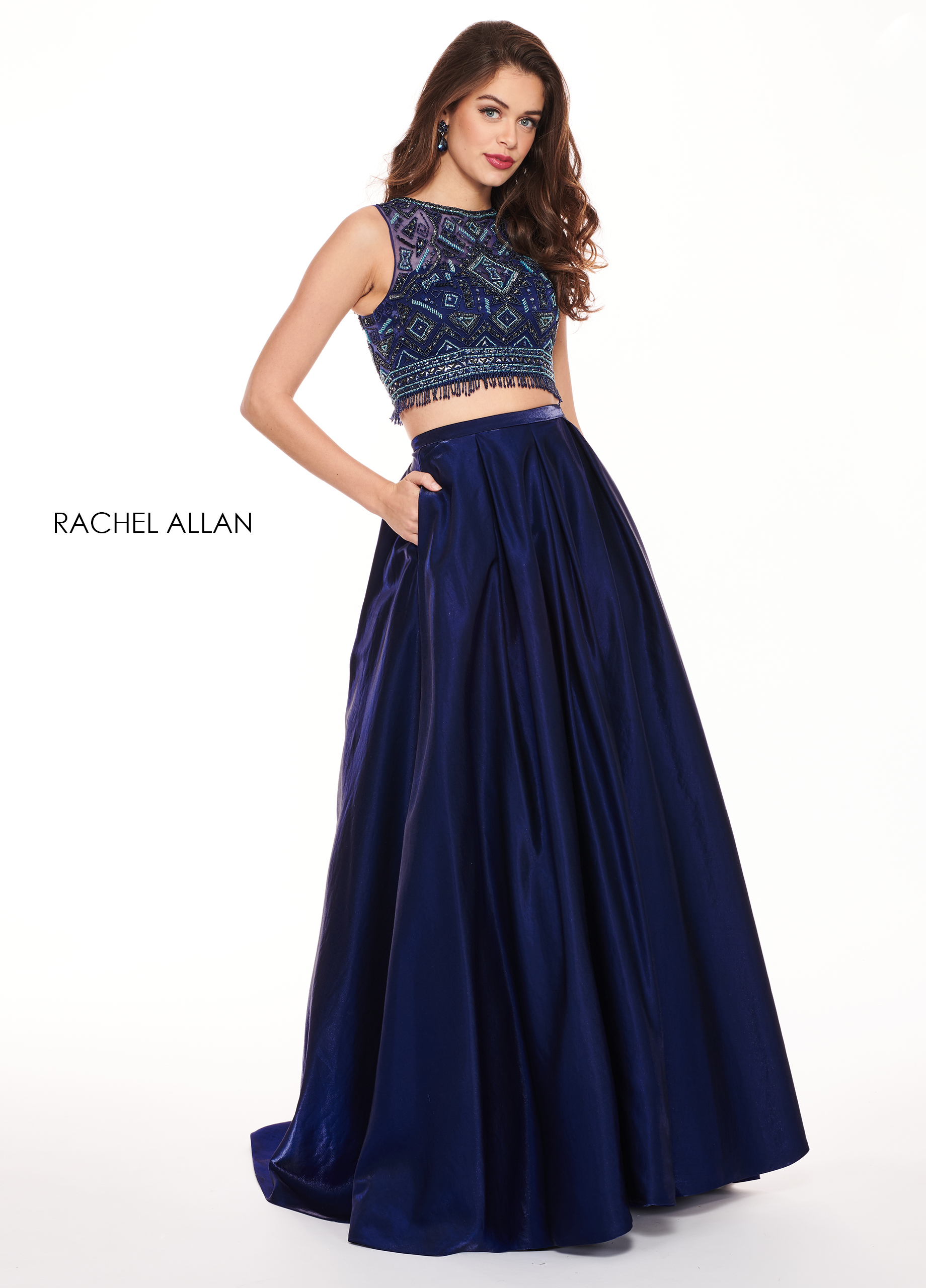 Scoop Neck Two-Piece Prom Dresses in Navy Color