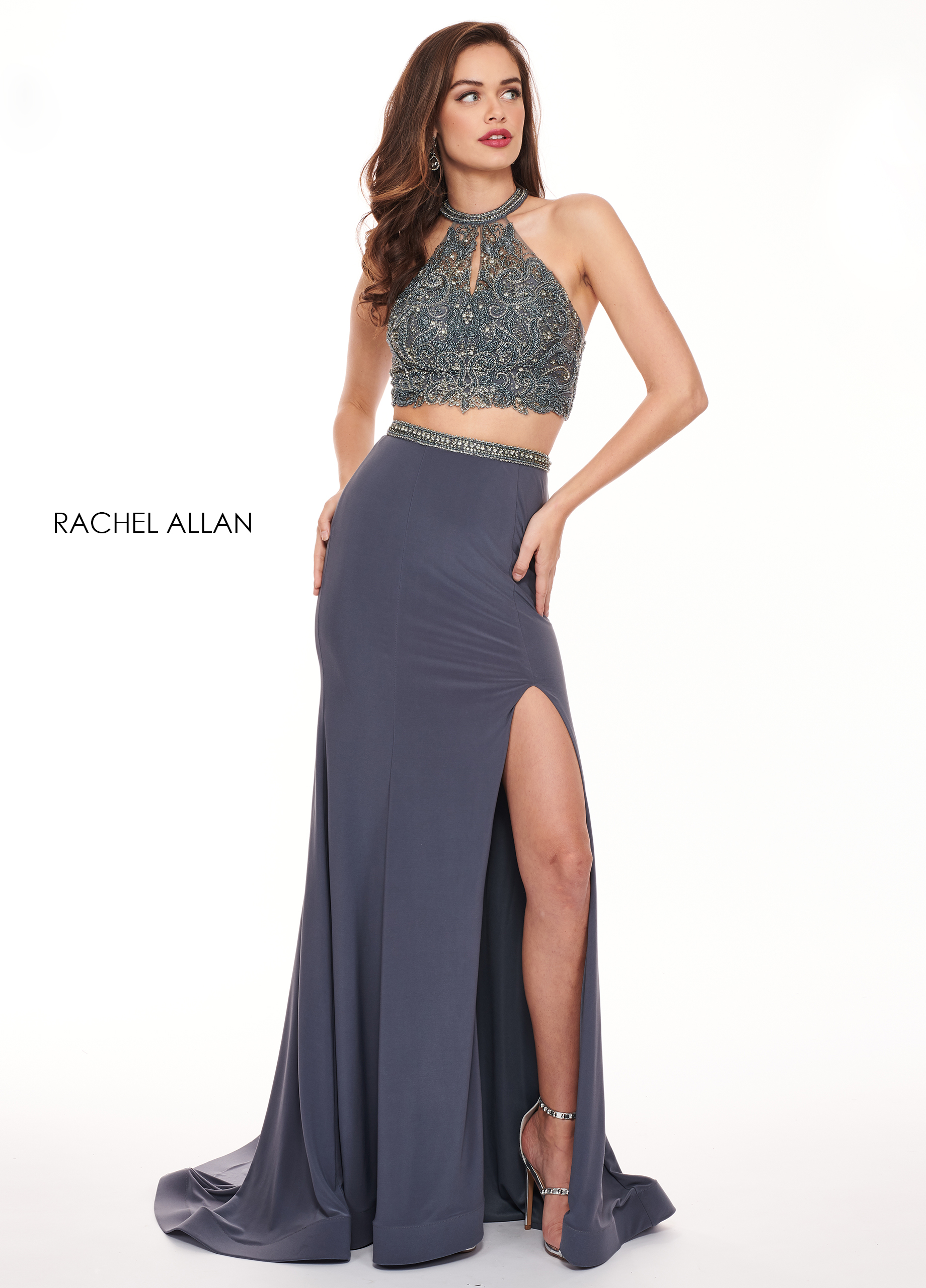 Halter Fit & Flare Prom Dresses in Grey Color