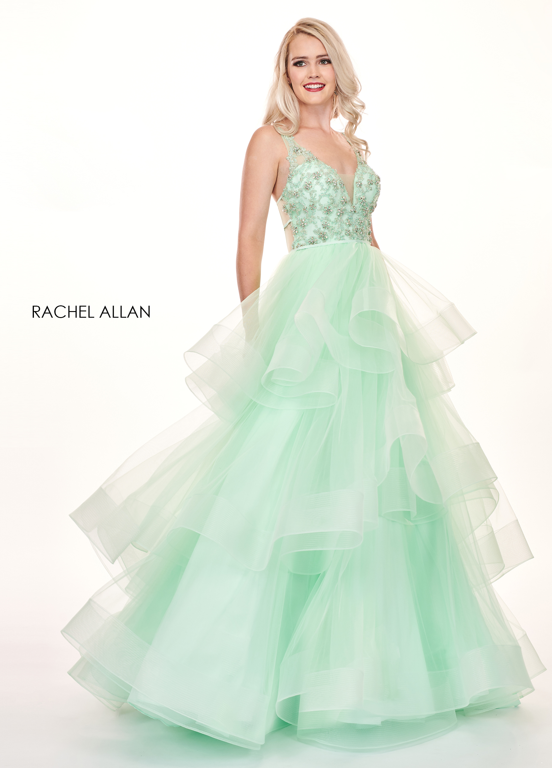 V-Neck Ball Gowns Prom Dresses in Mint Color