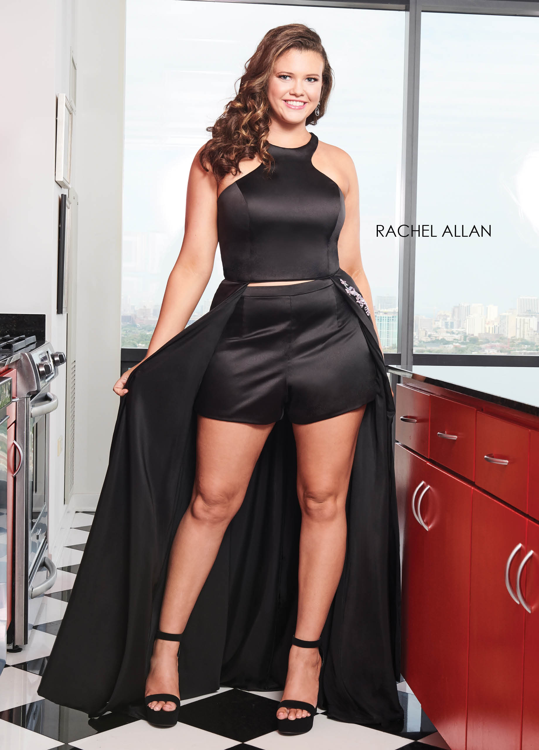 Halter Shorts With Overlay Plus Size Dresses in Black Color