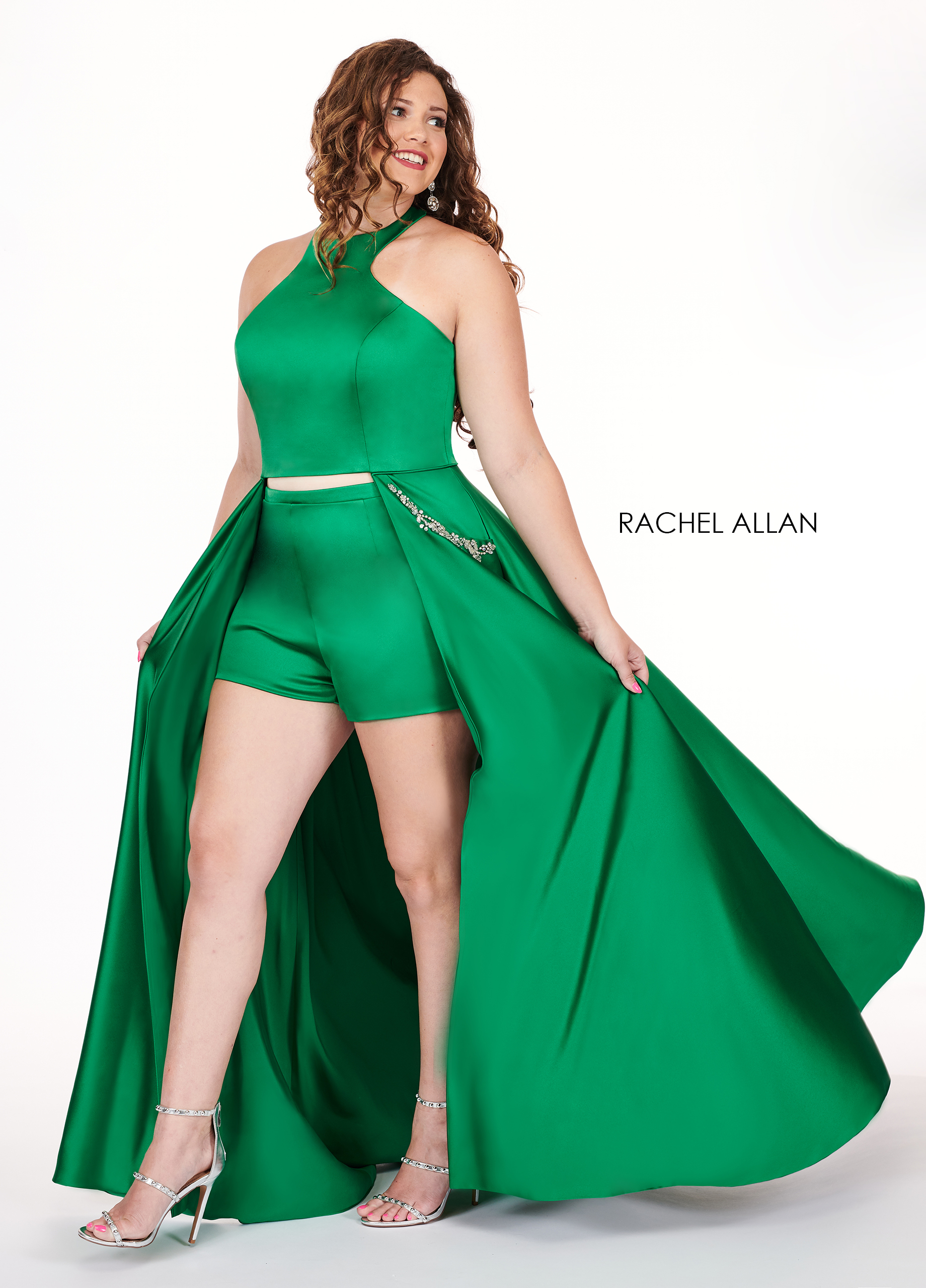 Halter Shorts With Overlay Plus Size Dresses in Emerald Color