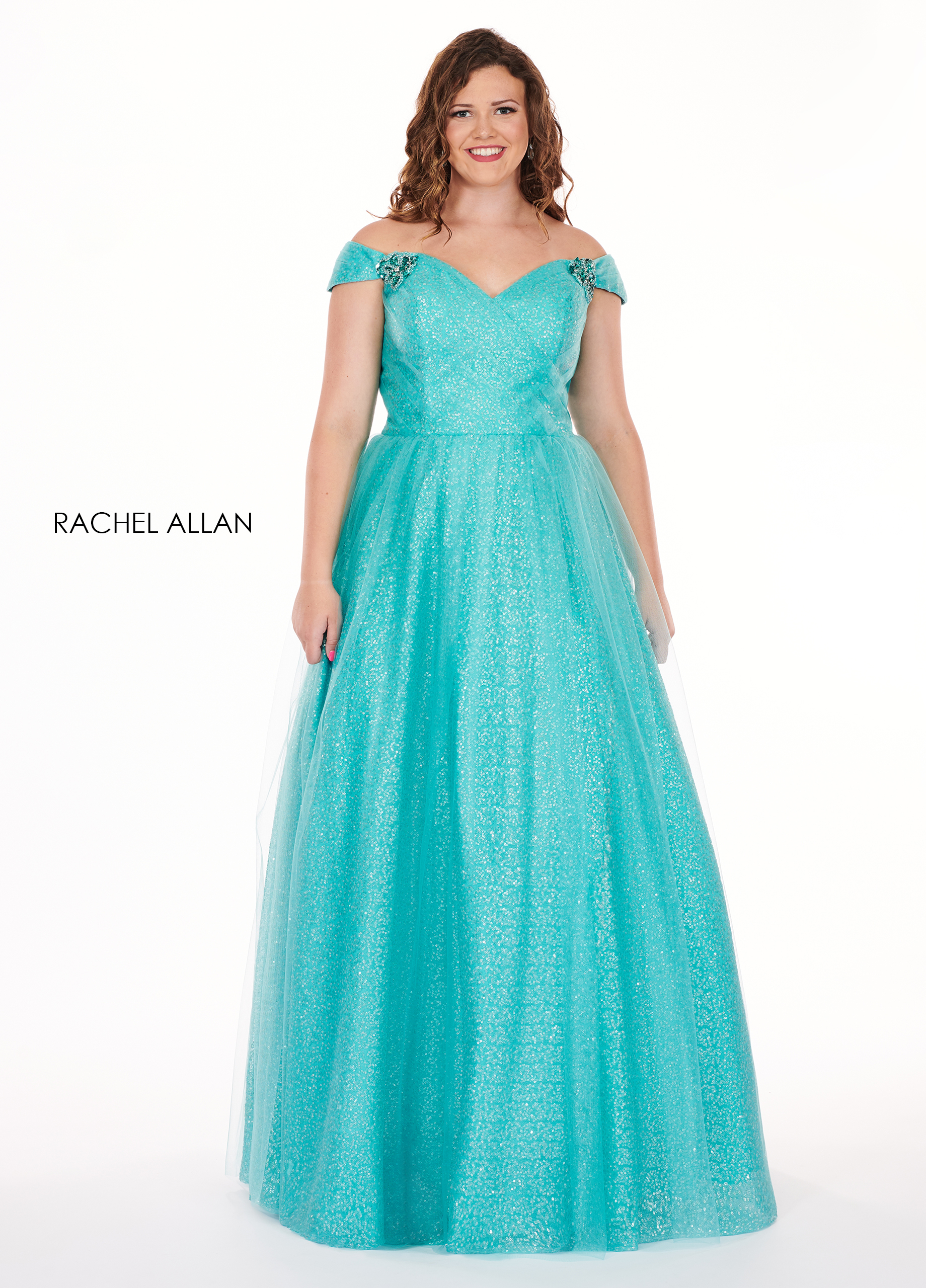 Off The Shoulder Ball Gowns Plus Size Dresses in Aqua Color