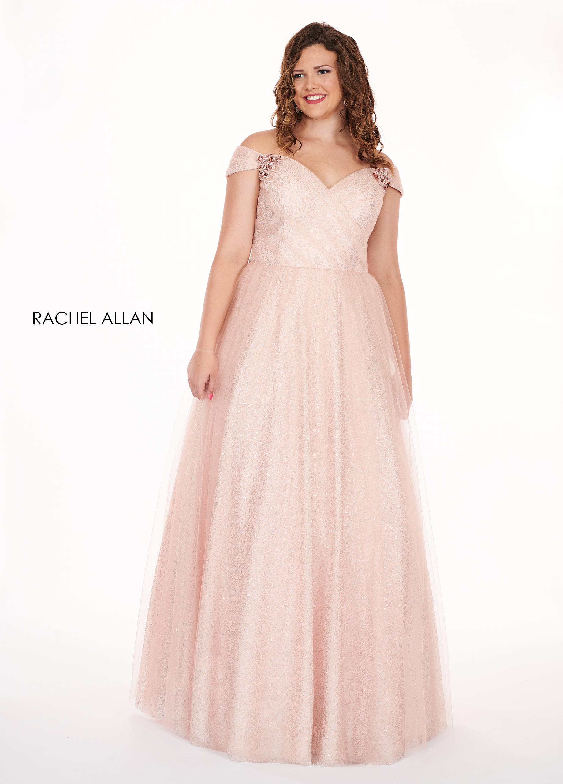 Off The Shoulder Ball Gowns Plus Size Dresses in Pink Color