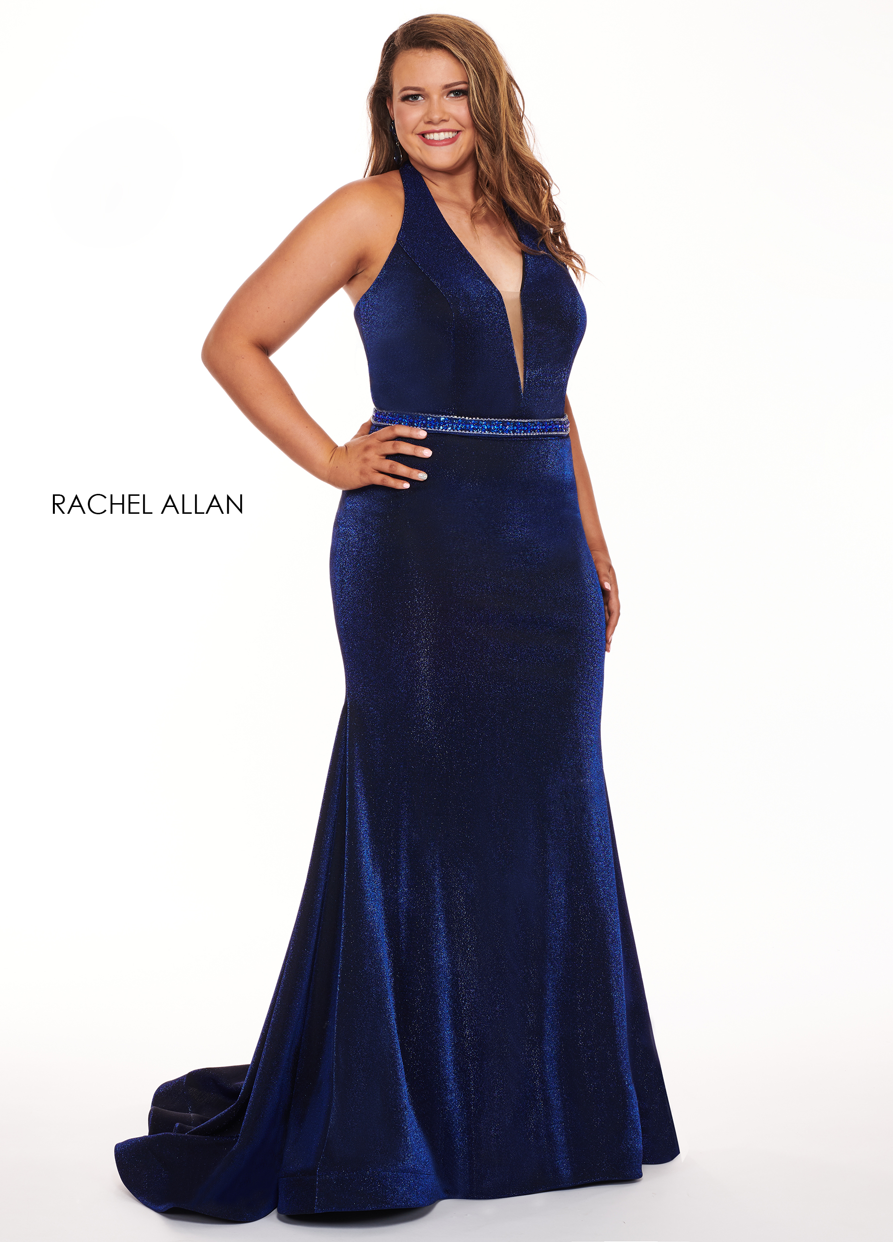 Halter Fit & Flare Plus Size Dresses in Royal Color