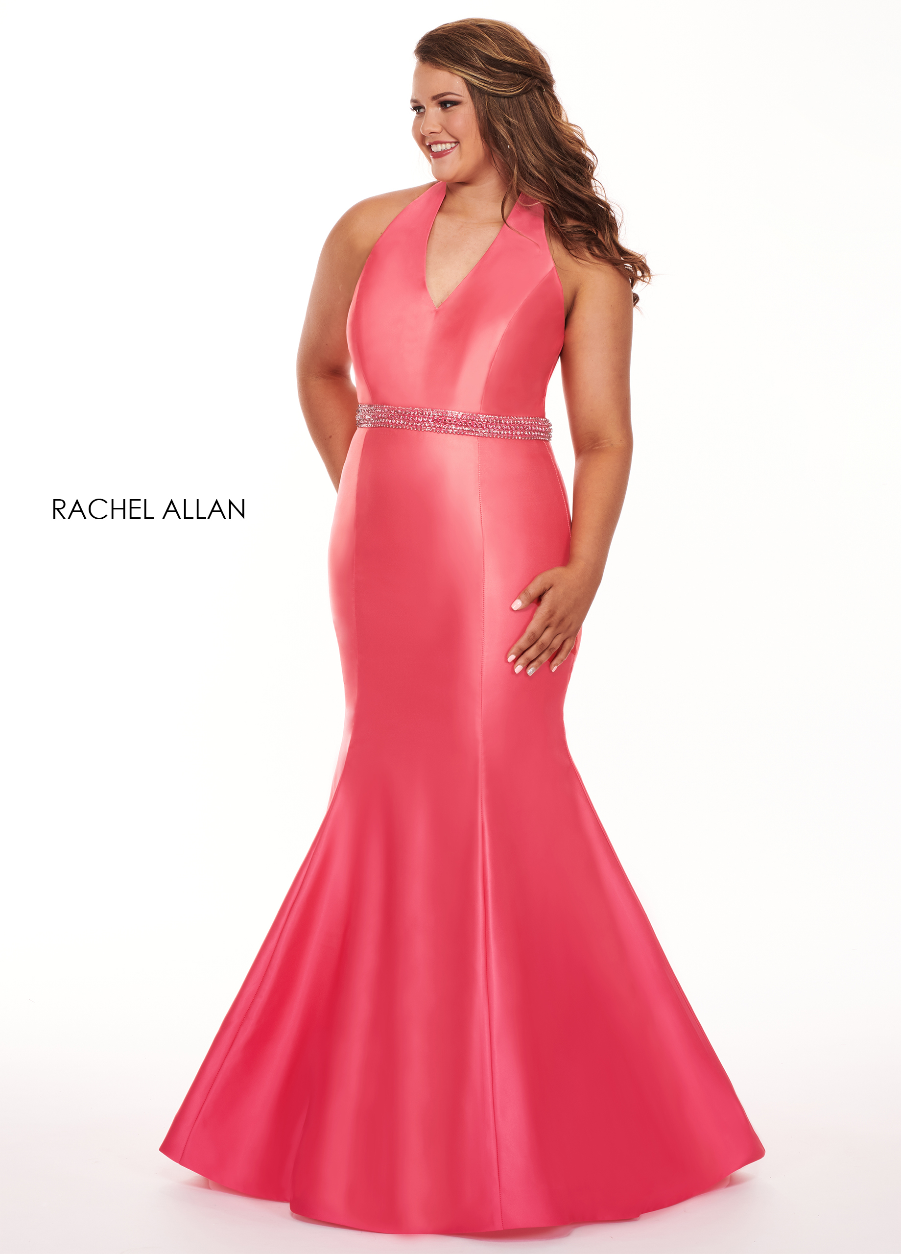 Halter Mermaid Plus Size Dresses in Red Color