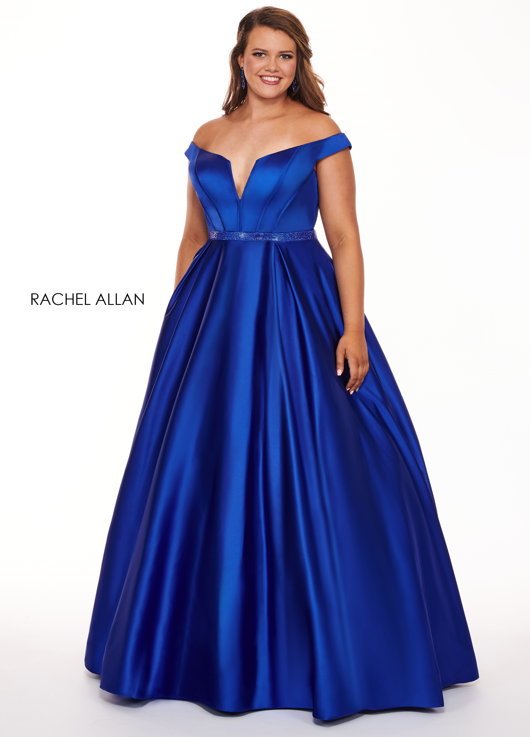 Off The Shoulder Ball Gowns Plus Size Dresses in Royal Color